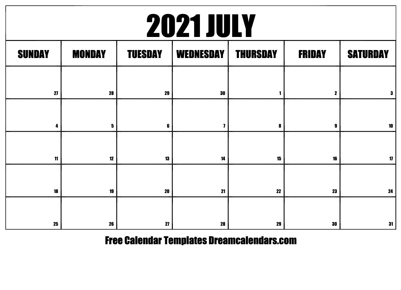 photograph about 2021 Calendar Printable known as Printable July 2021 Calendar
