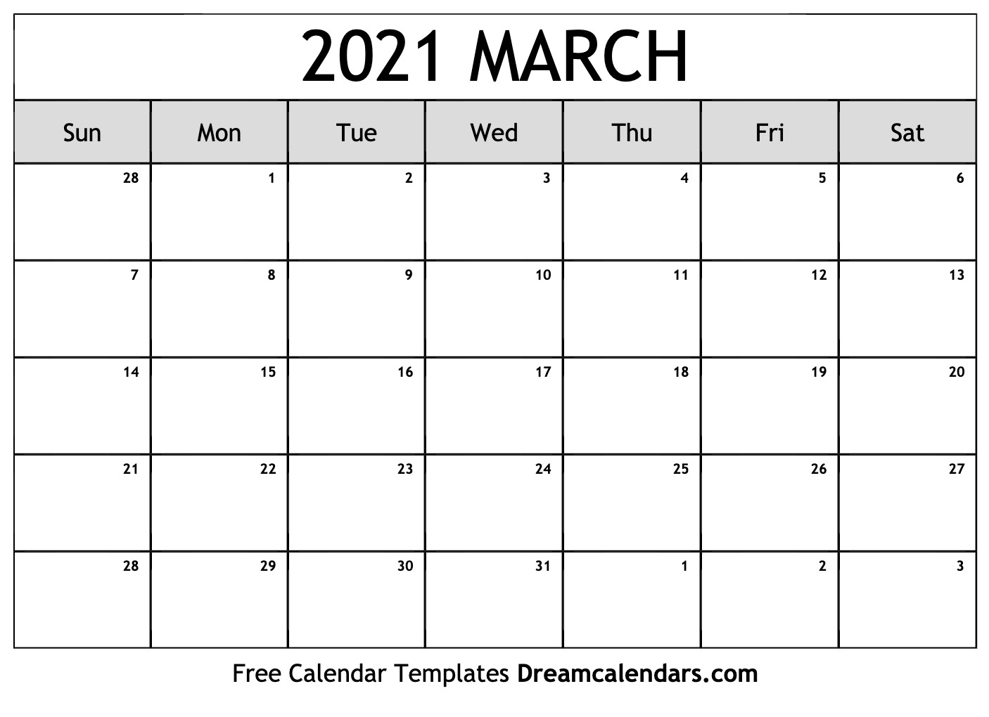 March 2021 calendar | free blank printable templates