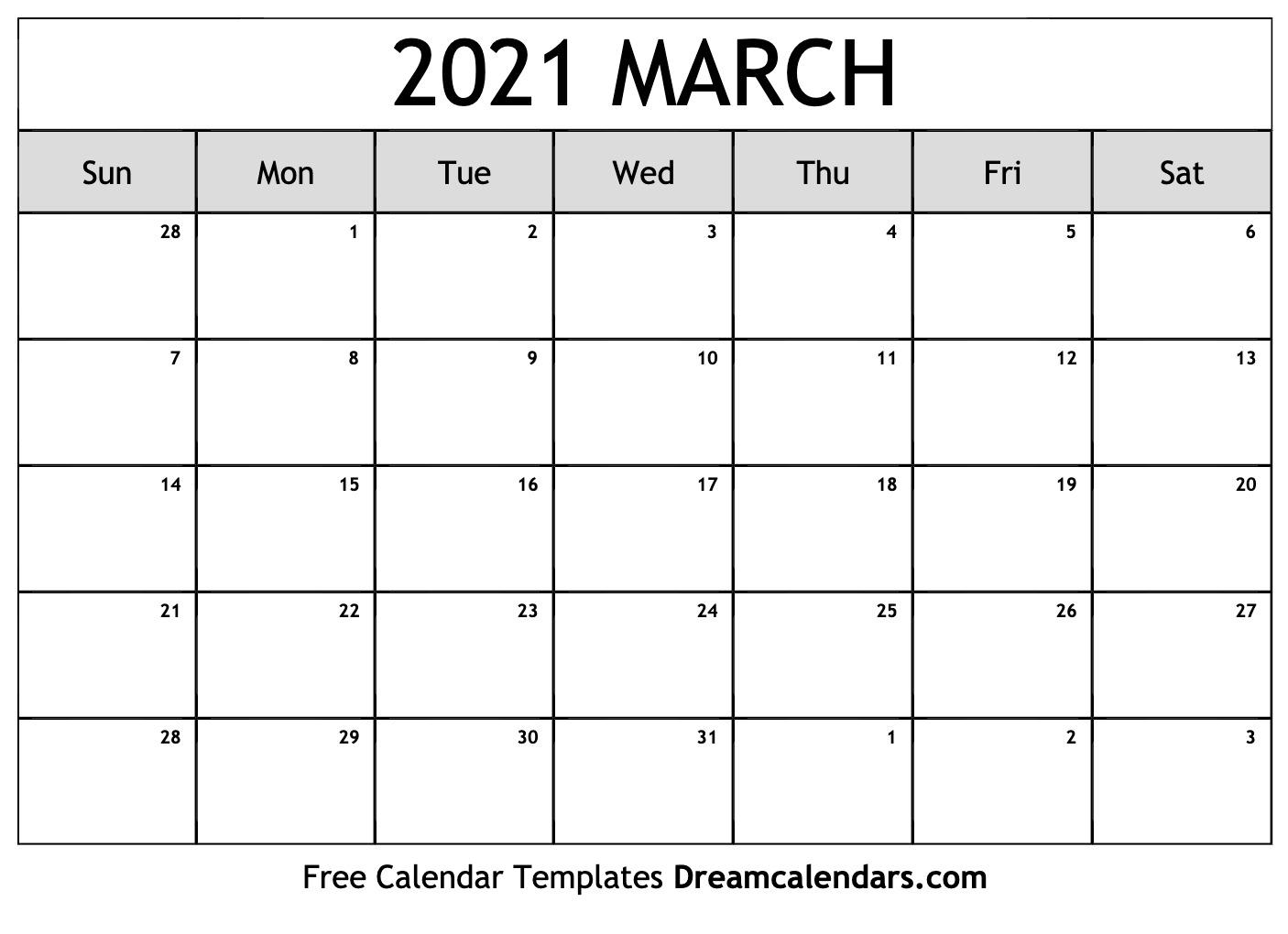 March Calendar 2021 Template March 2021 calendar | free blank printable templates