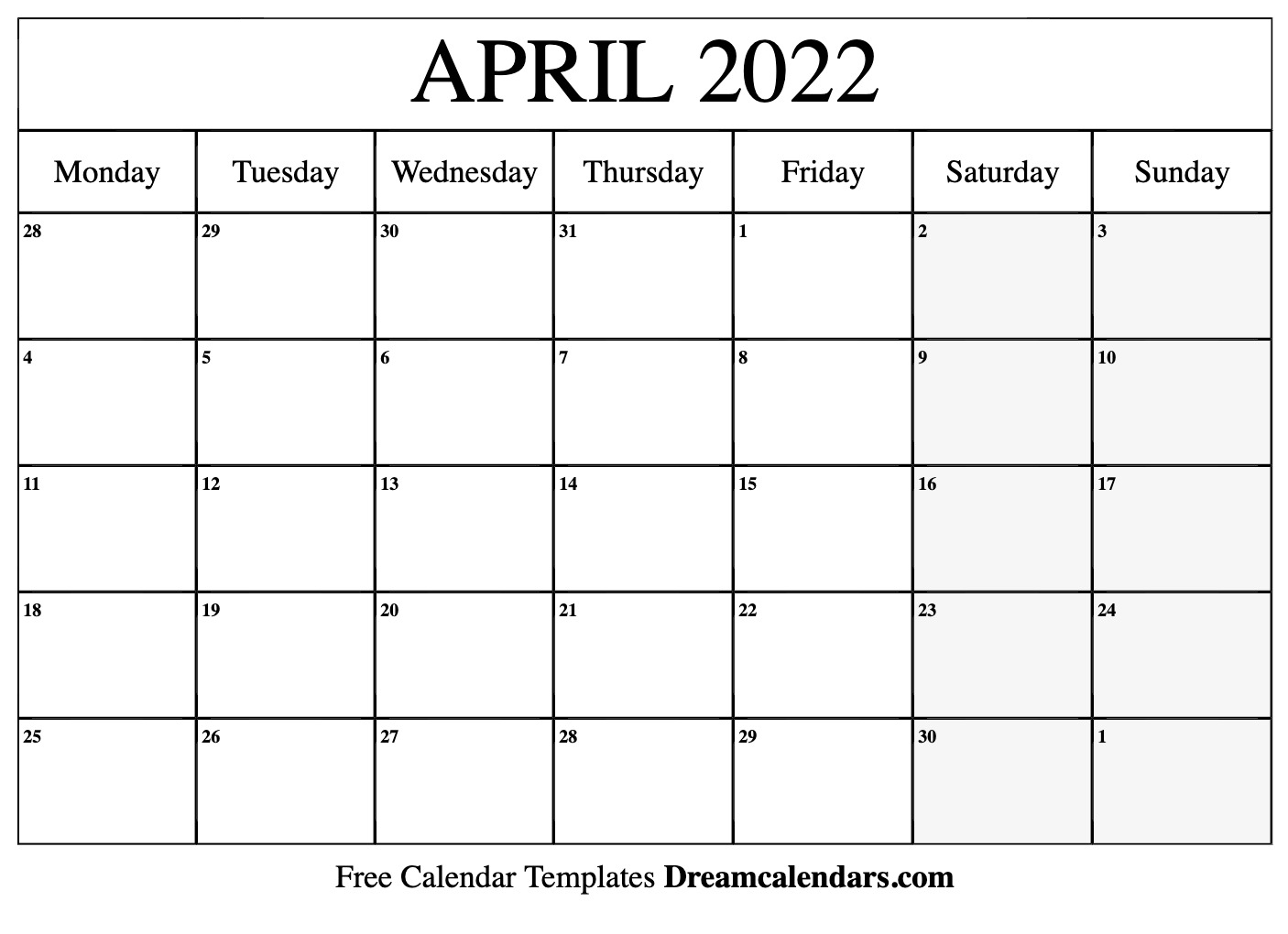 graphic relating to 2022 Calendar Printable called Printable April 2022 Calendar