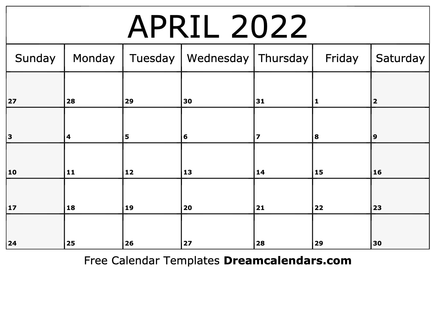 photograph relating to 2022 Calendar Printable known as Printable April 2022 Calendar