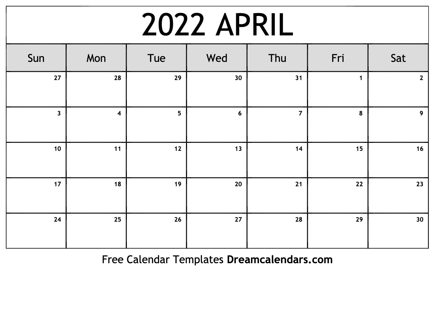 image regarding 2022 Calendar Printable identify Printable April 2022 Calendar