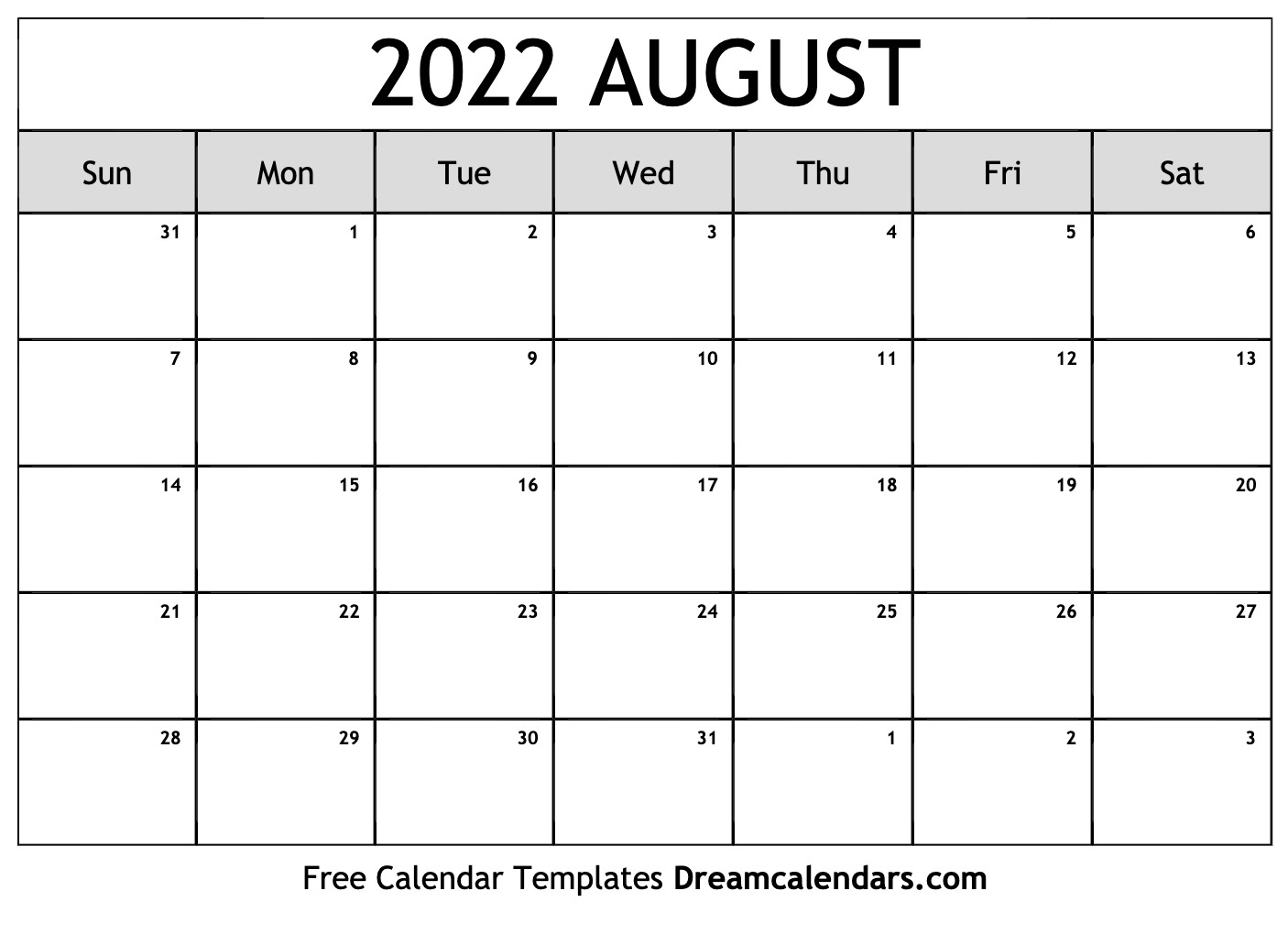 August Printable Calendar 2022.August 2022 Calendar Free Blank Printable Templates