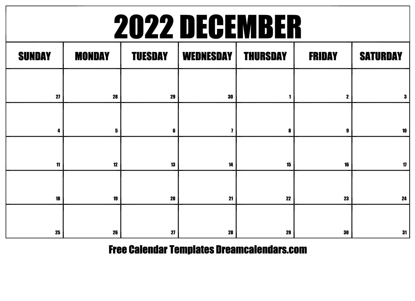 December 2022 calendar | free blank printable templates