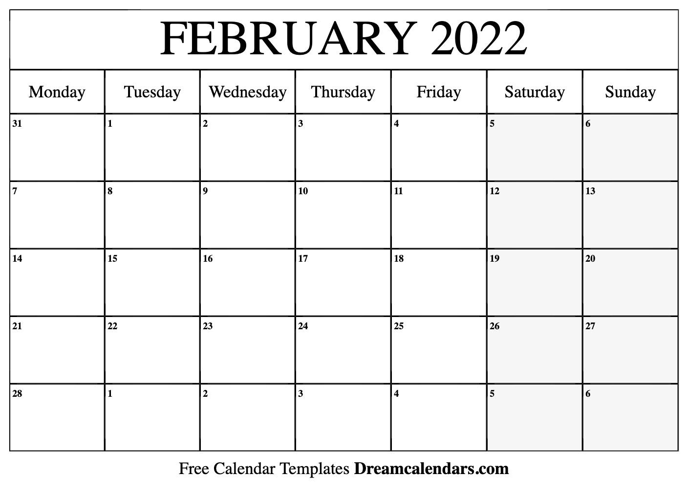 February 2022 Blank Calendar.February 2022 Calendar Free Blank Printable Templates