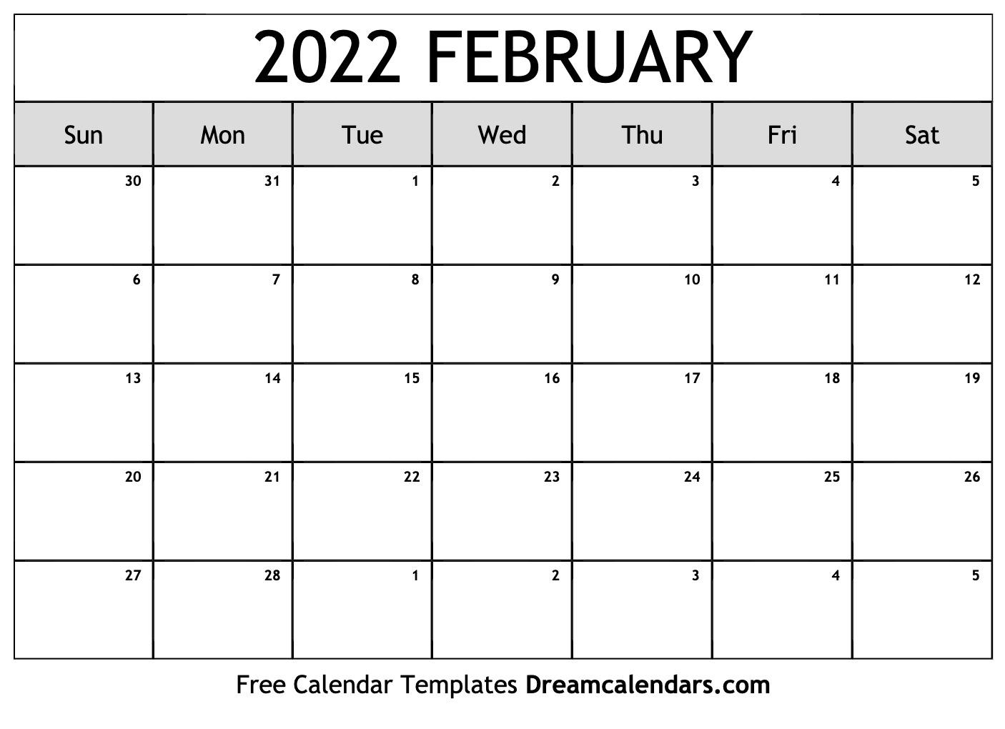 Free Printable Calendar February 2022.February 2022 Calendar Free Blank Printable Templates