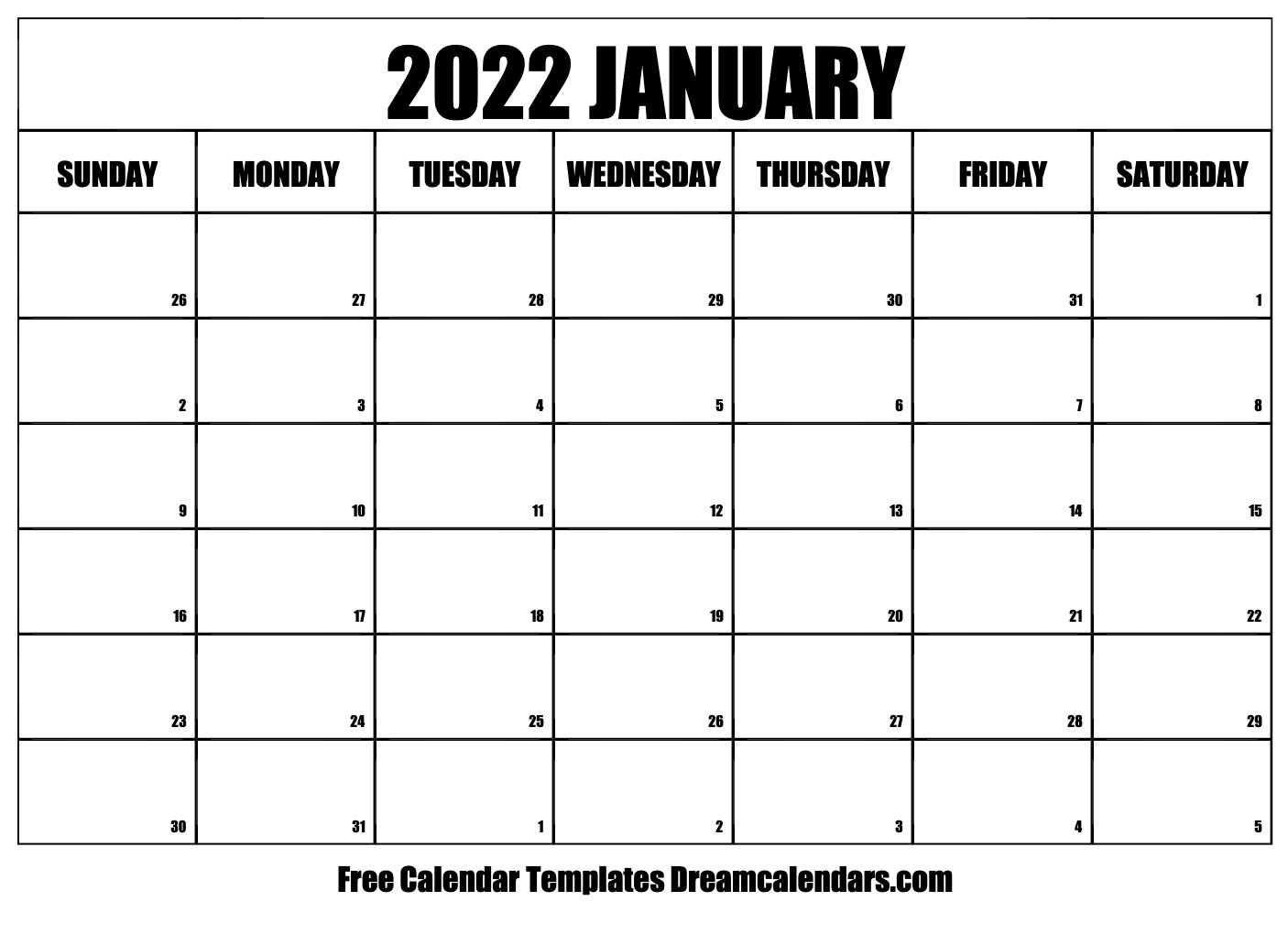 graphic regarding 2022 Calendar Printable identify Printable January 2022 Calendar