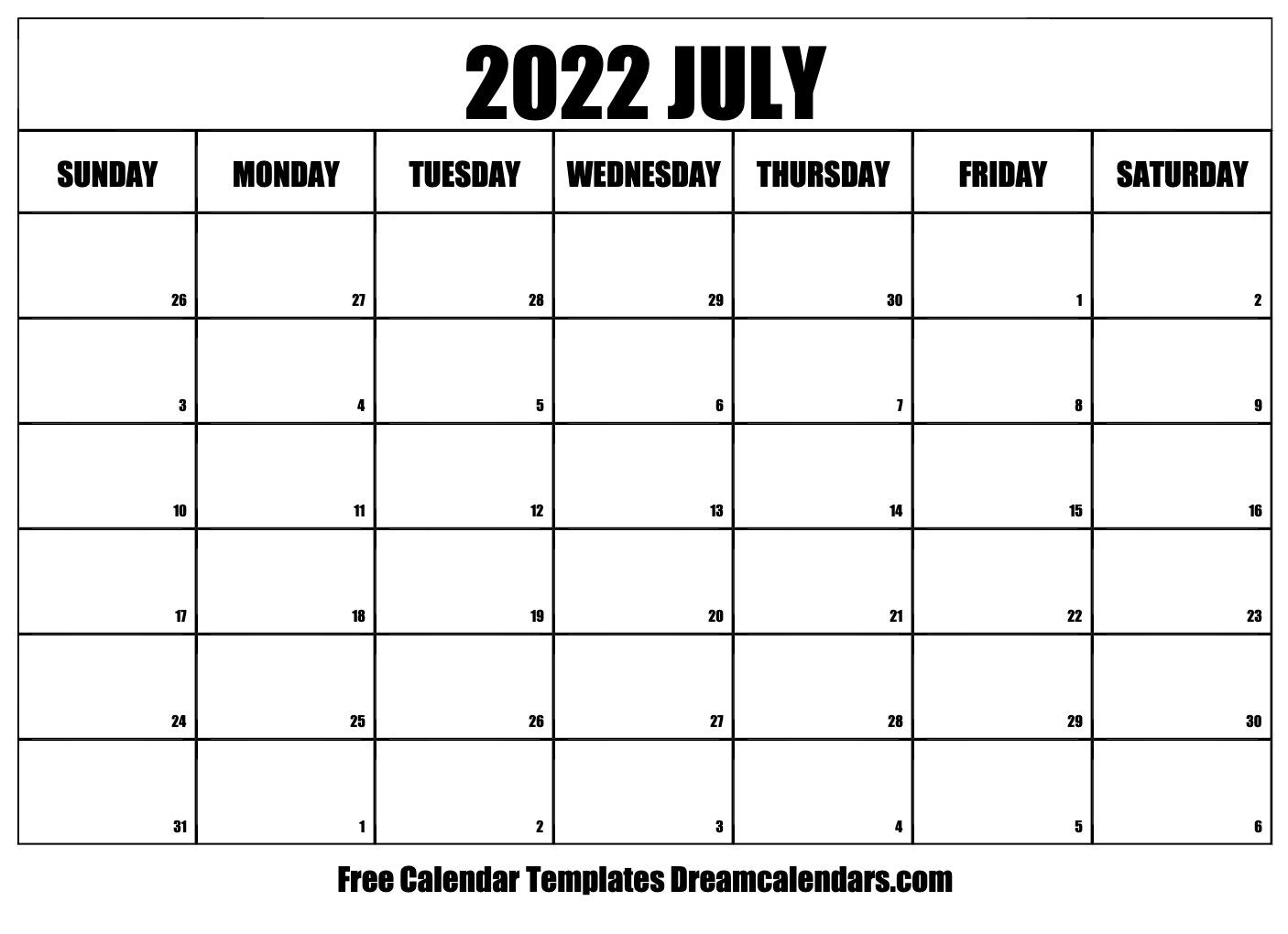 Blank July 2022 Calendar.July 2022 Calendar Free Blank Printable Templates