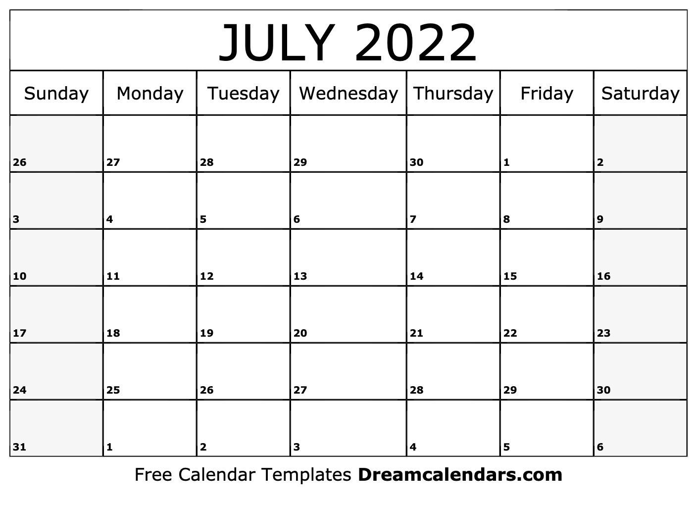 Printable June 2022 Calendar Free.July 2022 Calendar Free Blank Printable Templates
