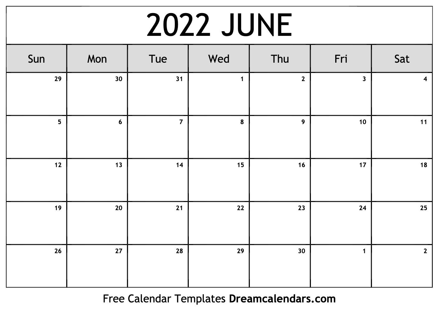 Blank Calendar For June 2022.June 2022 Calendar Free Blank Printable Templates