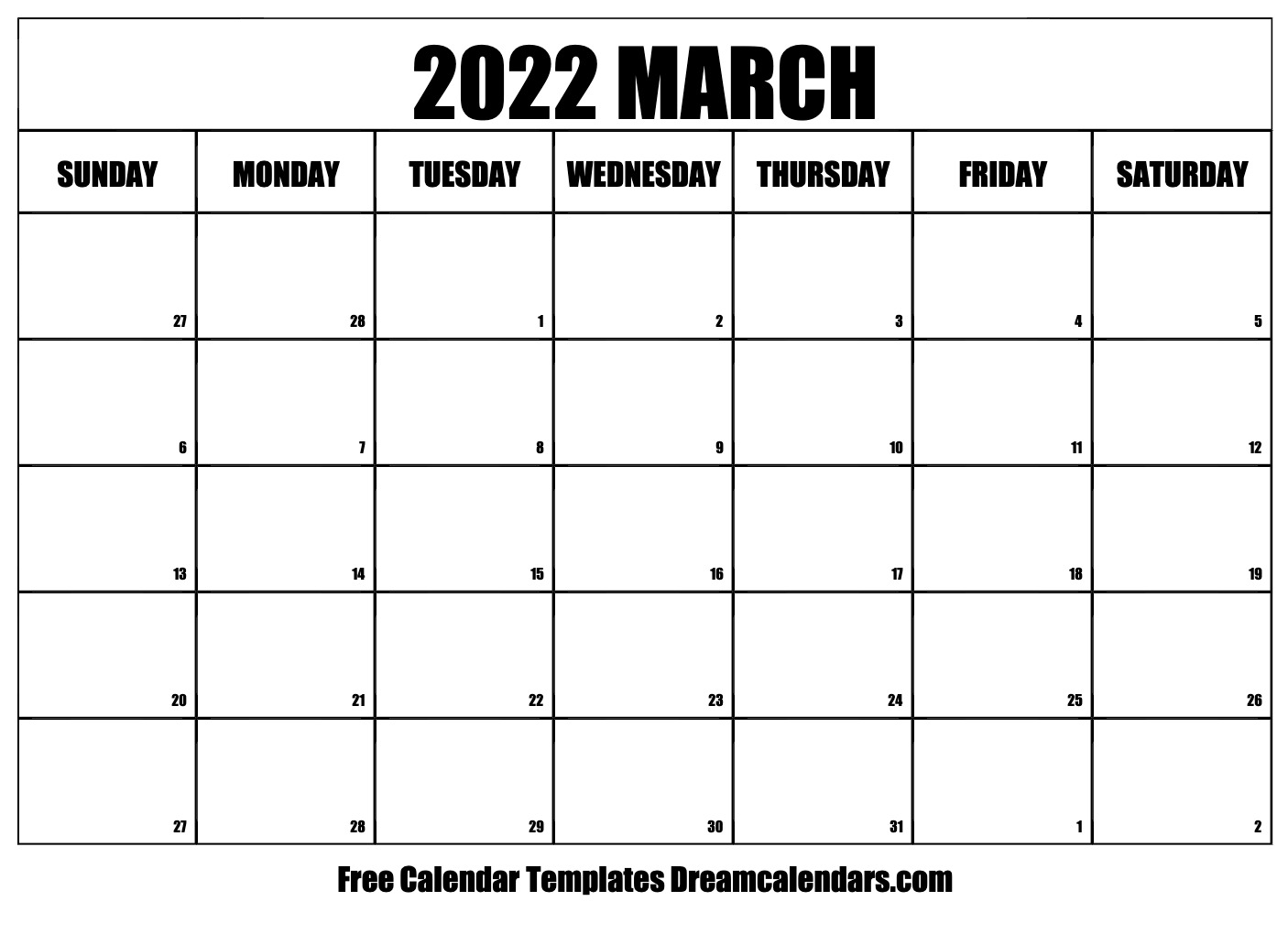 Womens March 2022 Calendar.March 2022 Calendar Free Blank Printable Templates
