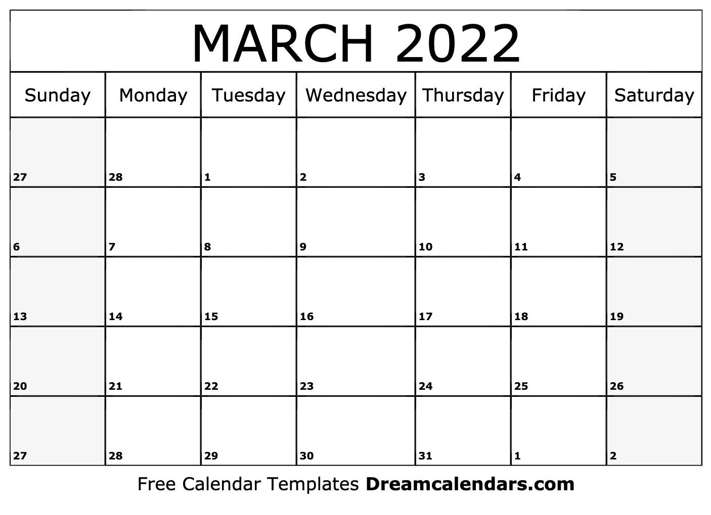 March 2022 Holiday Calendar.March 2022 Calendar Free Blank Printable Templates