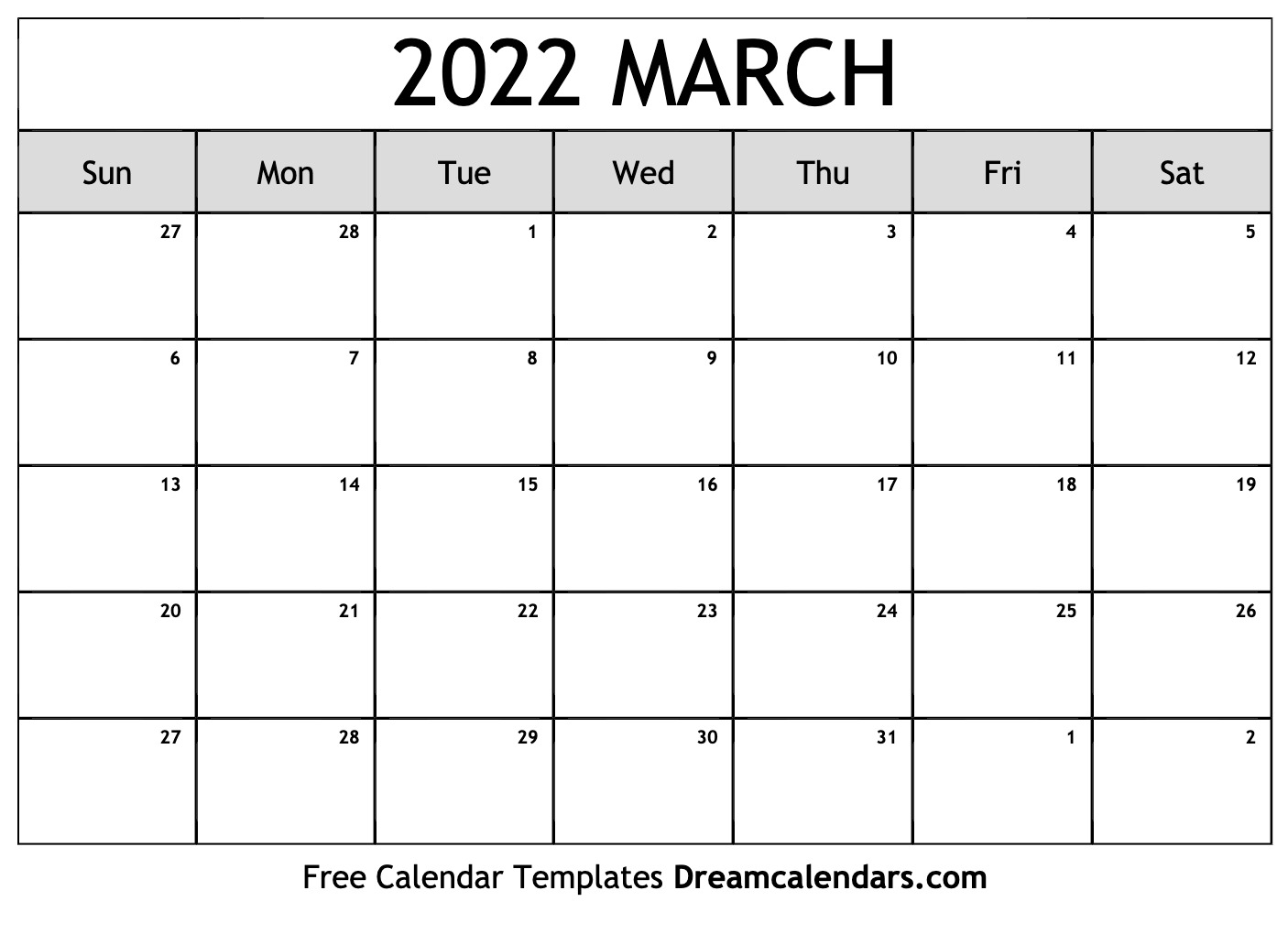 March Blank Calendar 2022.March 2022 Calendar Free Blank Printable Templates