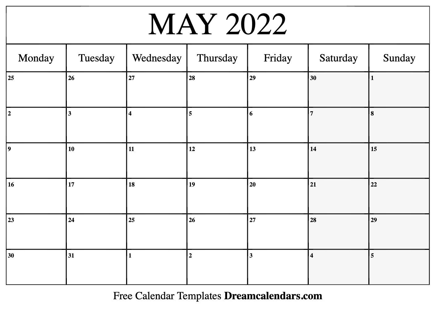 April May 2022 Calendar.May 2022 Calendar Free Blank Printable Templates