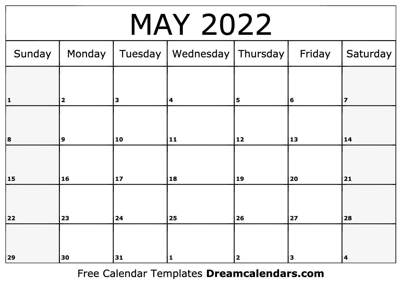 Blank May 2022 Calendar Printable.May 2022 Calendar Free Blank Printable Templates