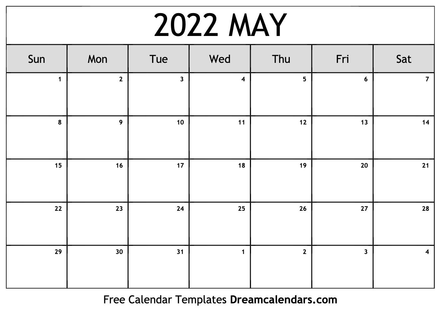 Blank Calendar For May 2022.May 2022 Calendar Free Blank Printable Templates