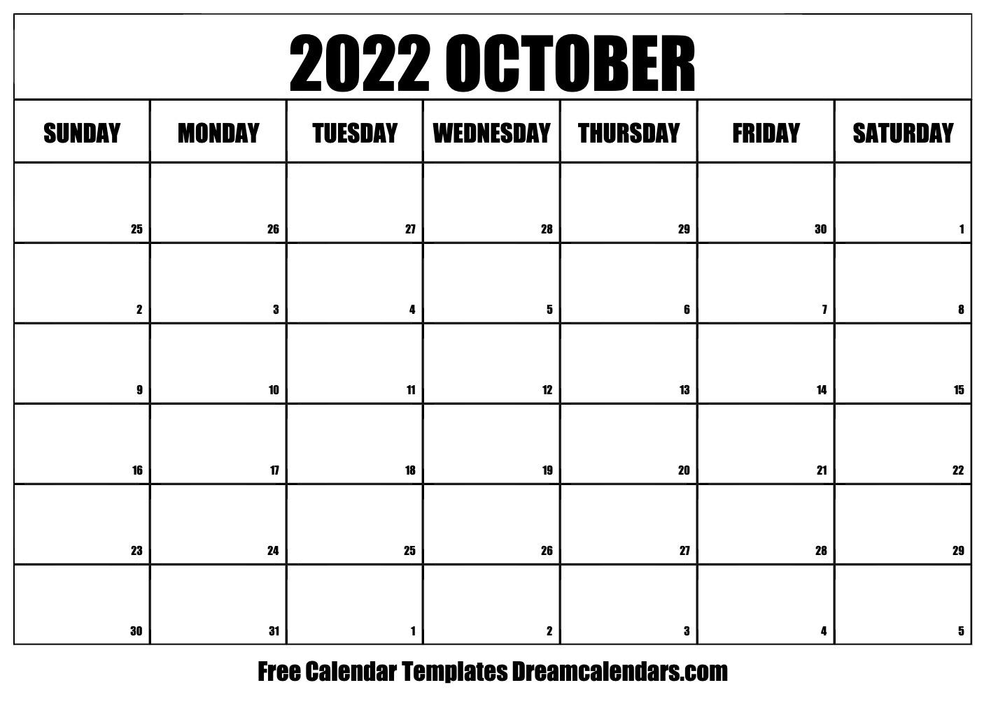 Blank Calendar October 2022.October 2022 Calendar Free Blank Printable Templates