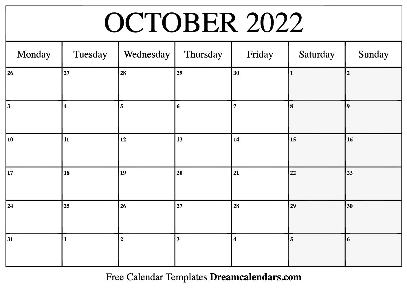 Printable October 2022 Calendar Word.October 2022 Calendar Free Blank Printable Templates
