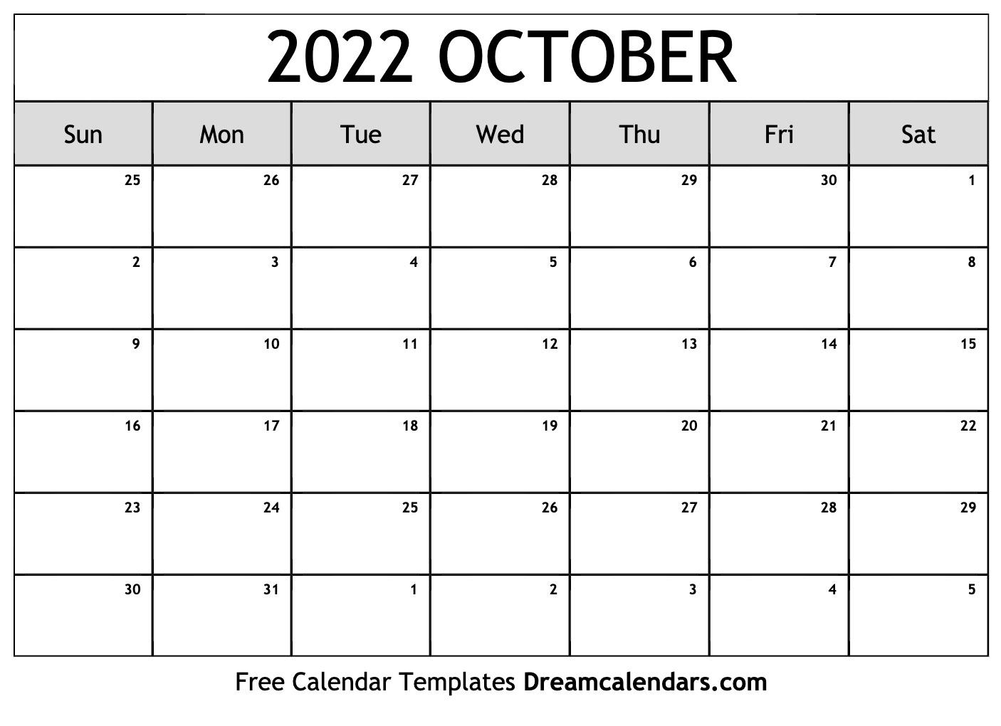 Free Printable Calendar October 2022.October 2022 Calendar Free Blank Printable Templates