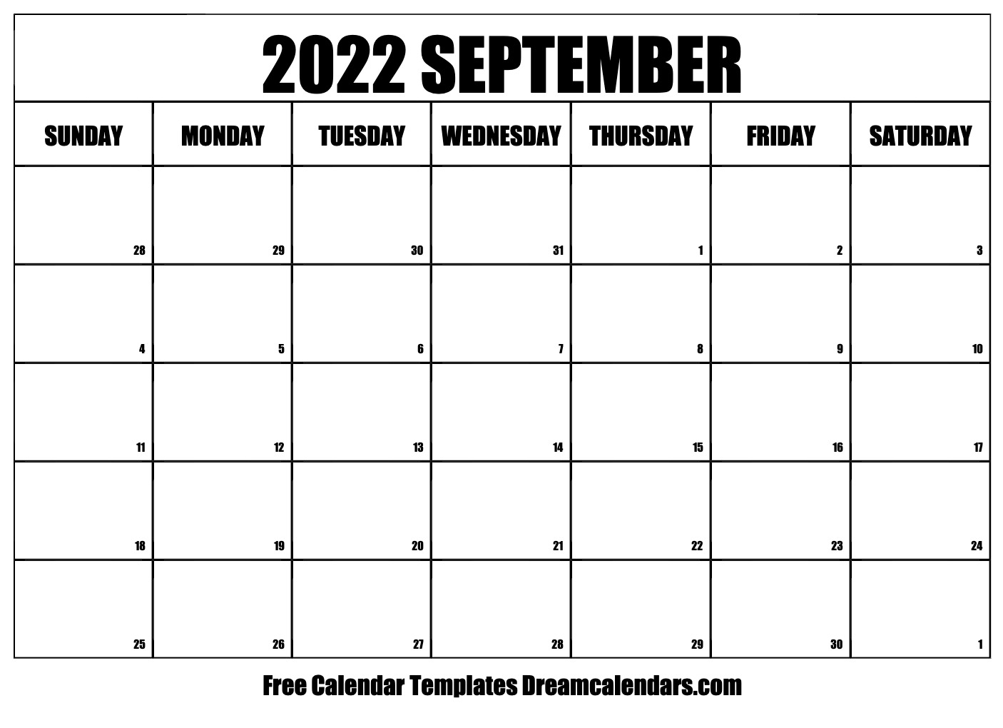 September 2022 calendar | free blank printable templates