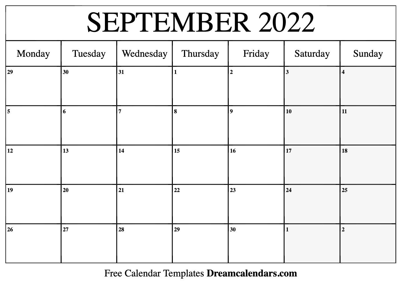 Monthly Calendar September 2022.September 2022 Calendar Free Blank Printable Templates