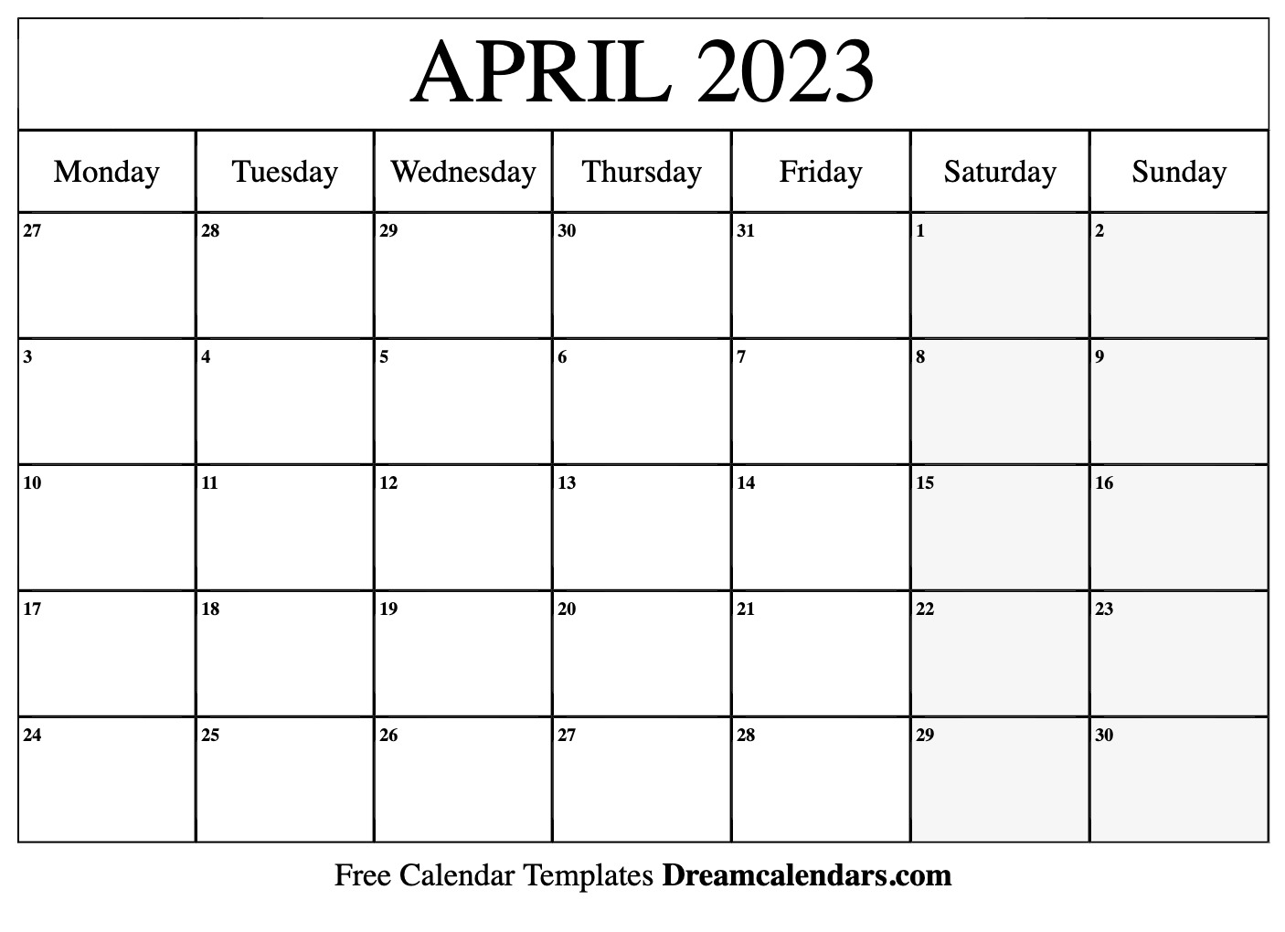 April 2023 Calendar Free Blank Printable Templates