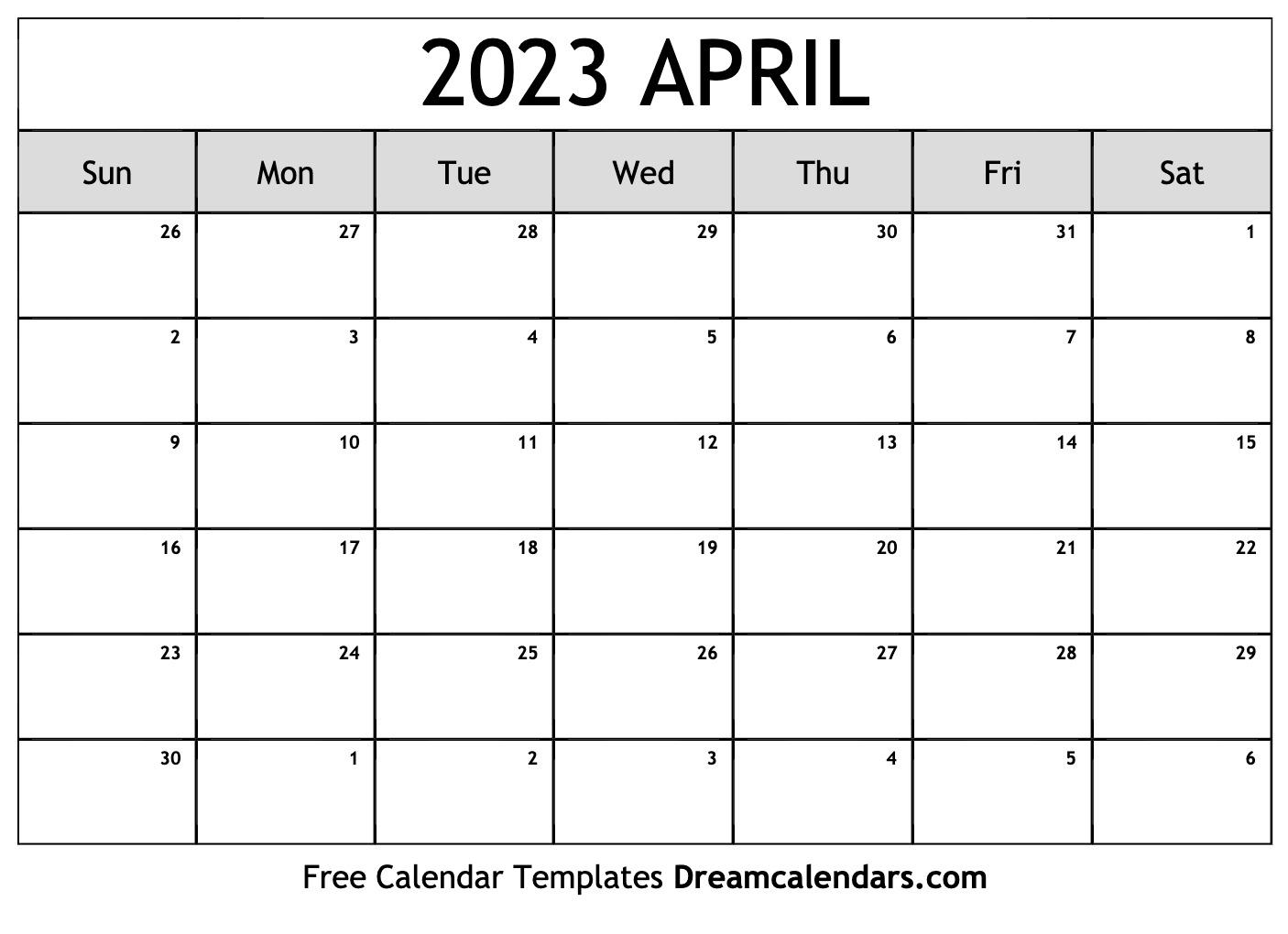picture regarding Printable April named Printable April 2023 Calendar