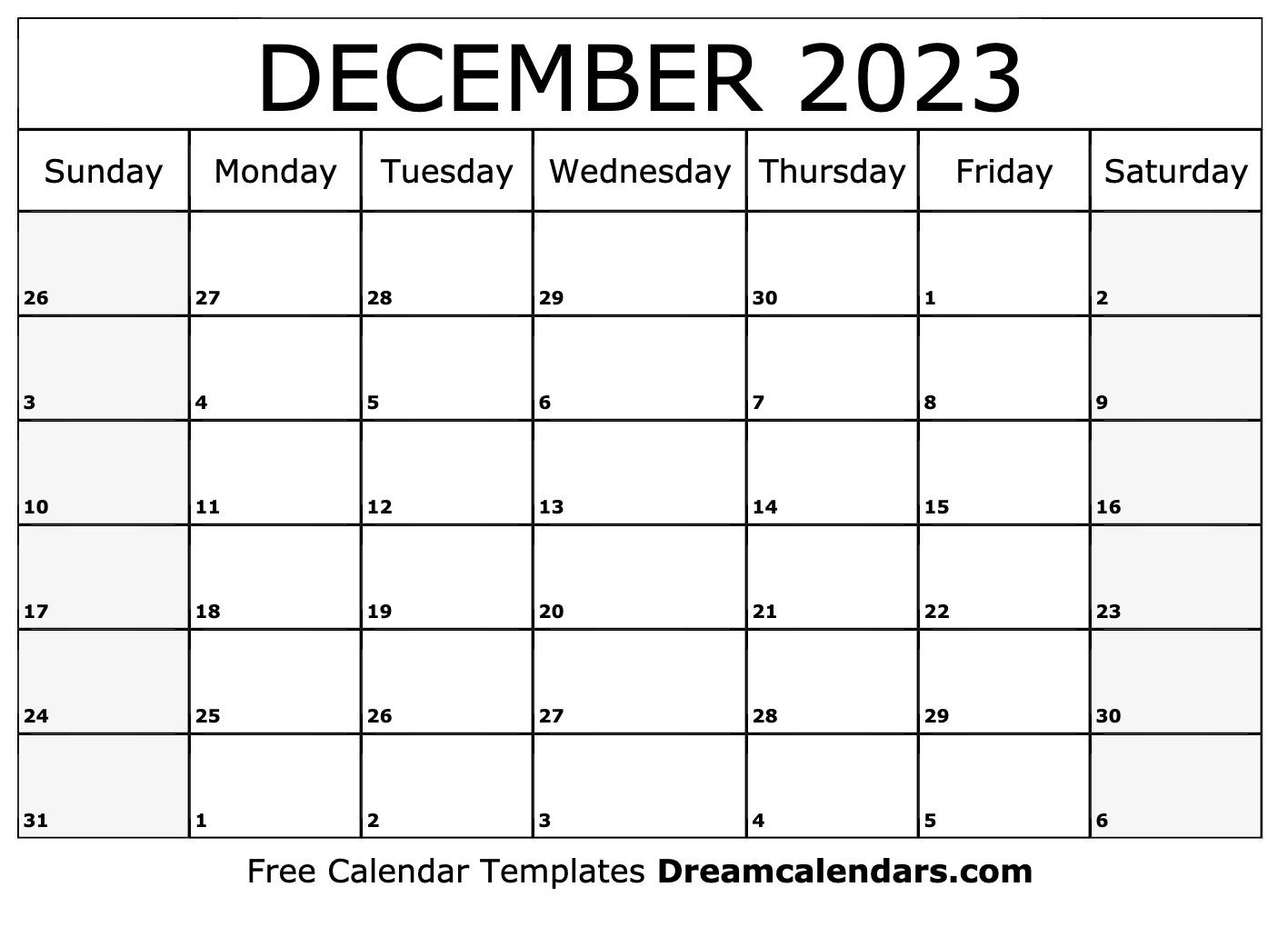 December 2023 And January 2022 Calendar.December 2023 Calendar Free Blank Printable Templates
