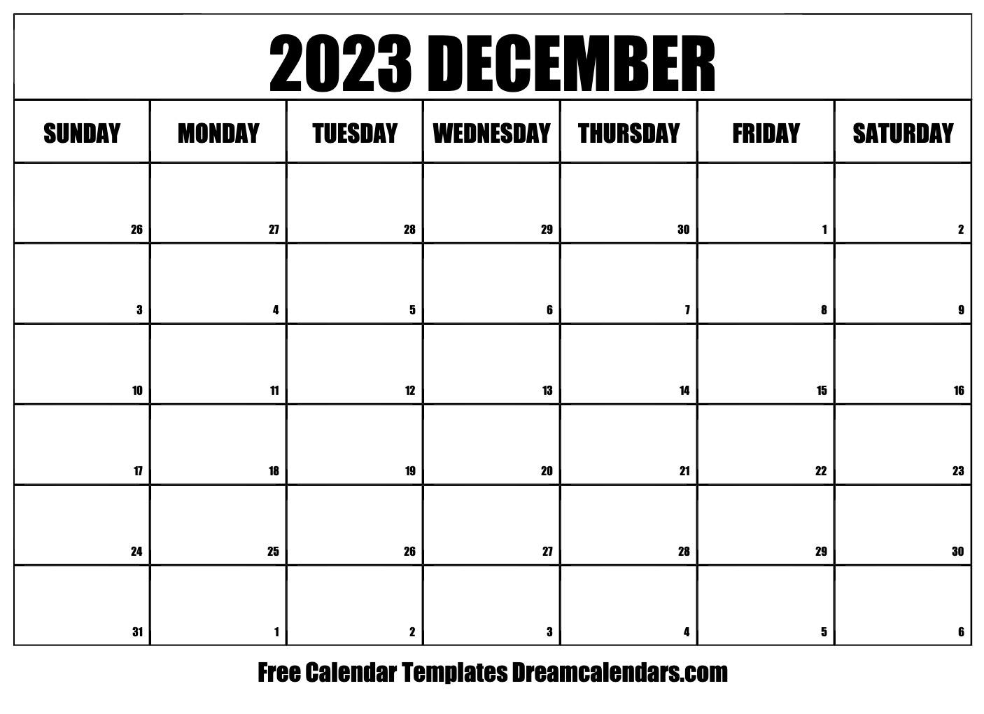 Calendar December 2023 January 2022.December 2023 Calendar Free Blank Printable Templates