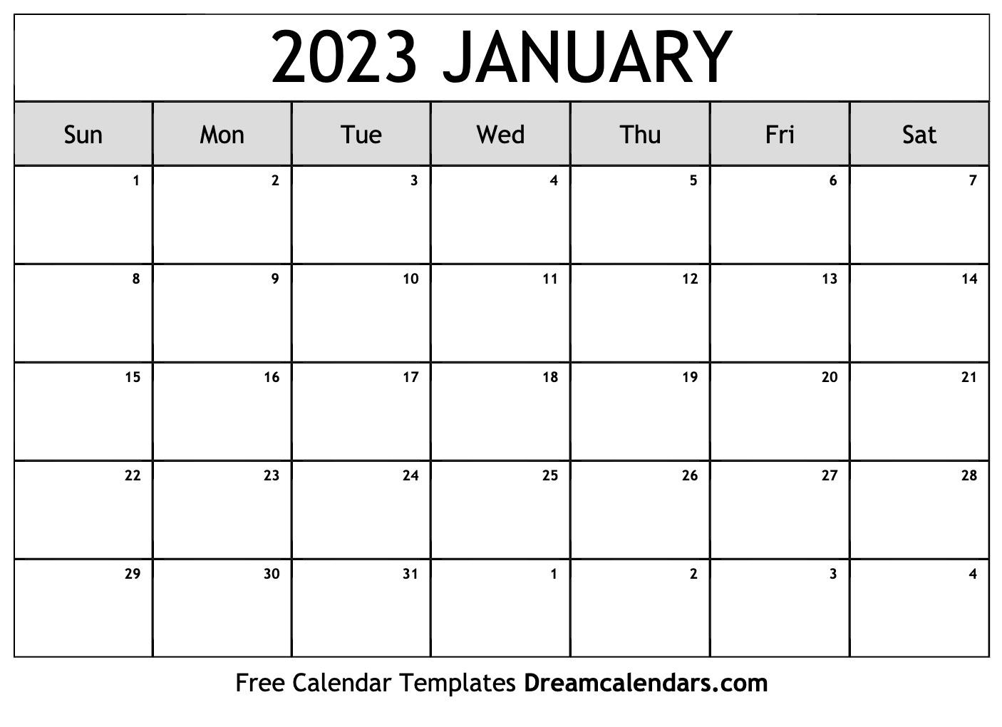 December 2022 And January 2023 Calendar.January 2023 Calendar Free Blank Printable Templates