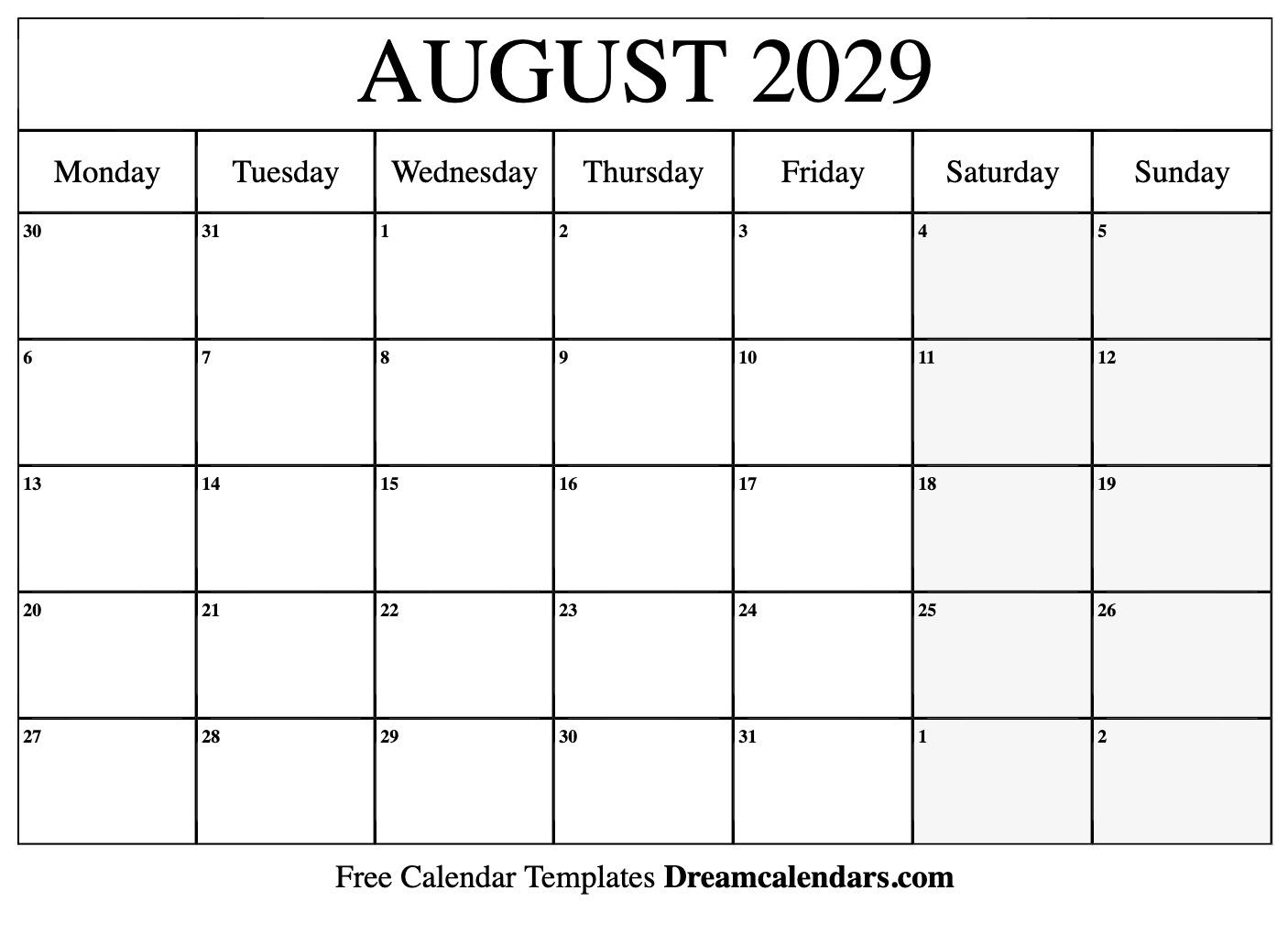 image about Free Printable Aug Calendar named Printable August 2029 Calendar