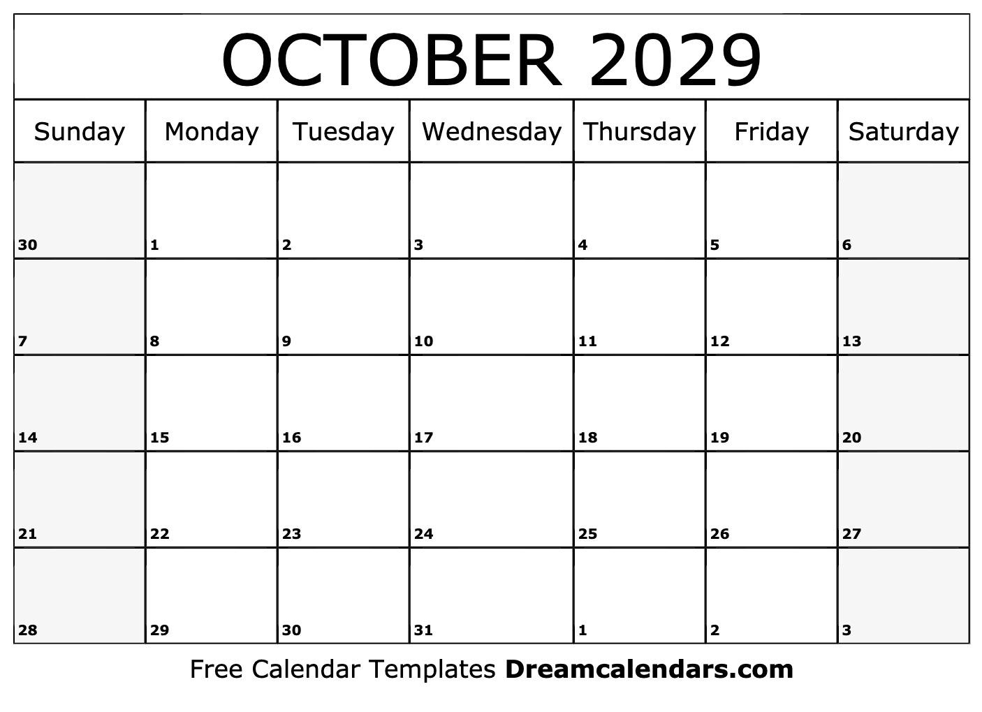 Free Blank October 2029 Printable Calendar