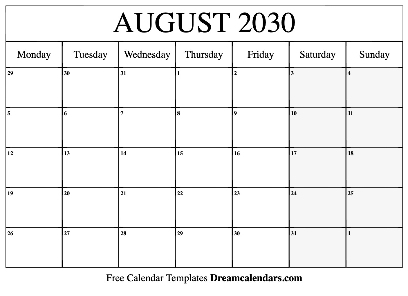 photograph about Free Printable August Calendar named Printable August 2030 Calendar