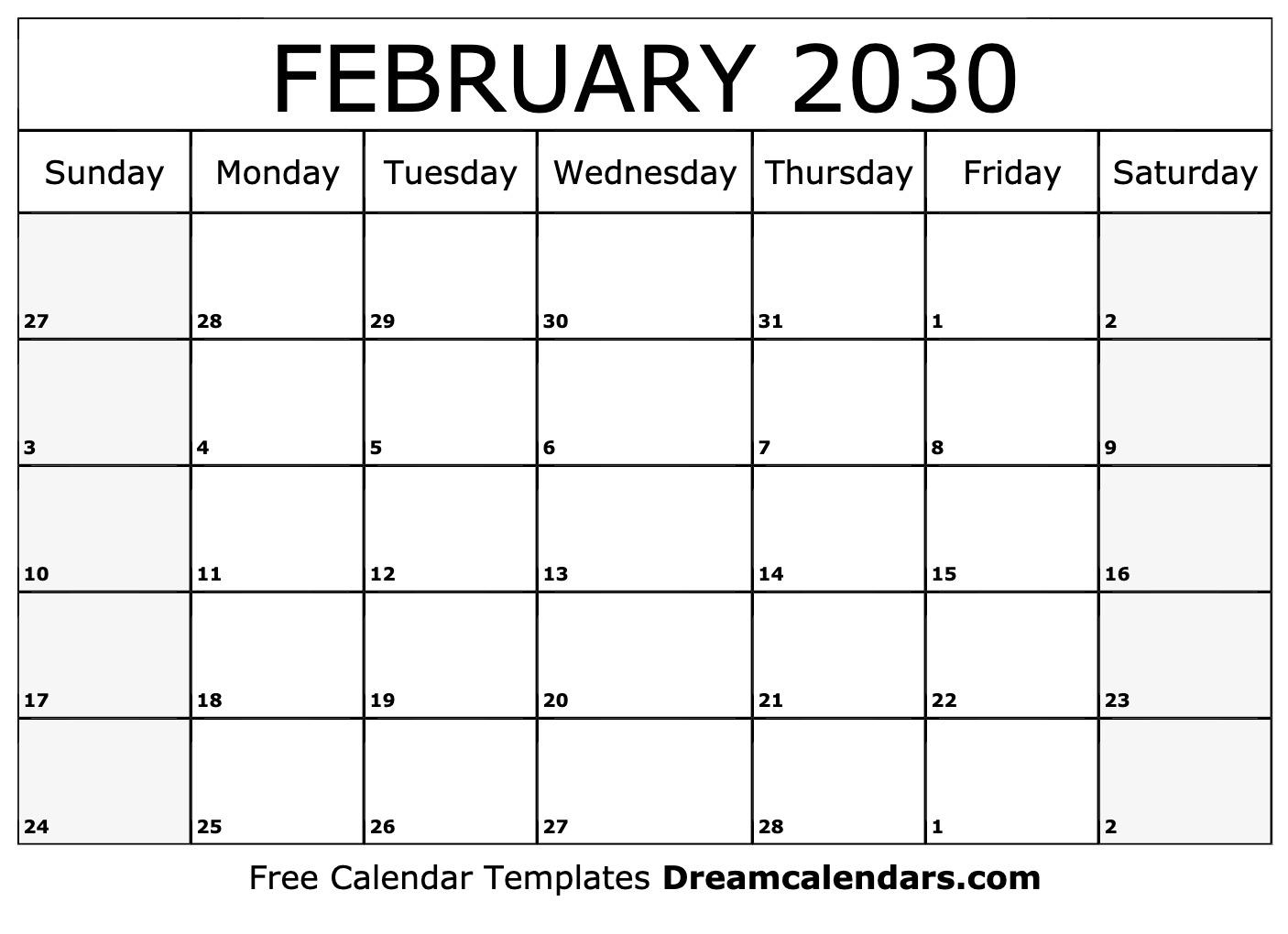 photo about February Calendar Printable referred to as Printable February 2030 Calendar