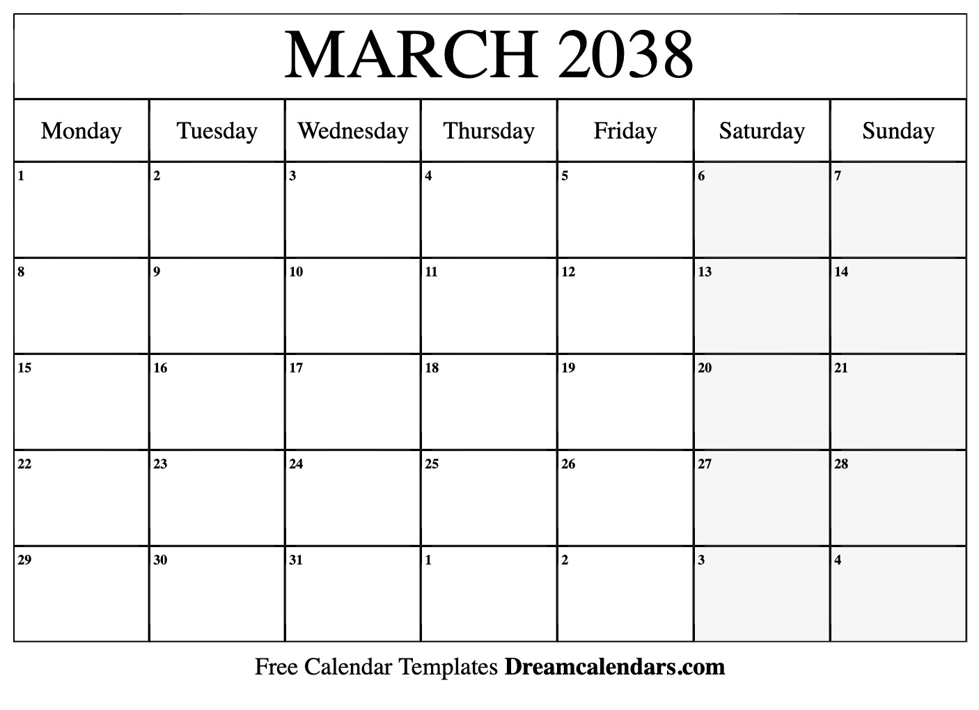 picture about Printable March Calendar known as Printable March 2038 Calendar