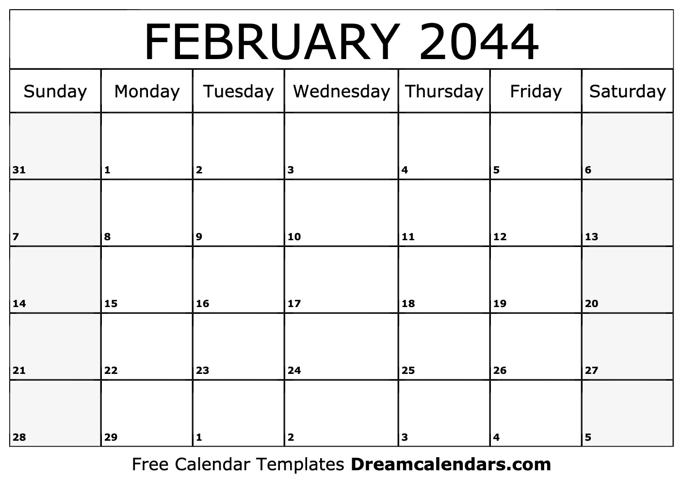 image about Calendar February Printable known as Printable February 2044 Calendar