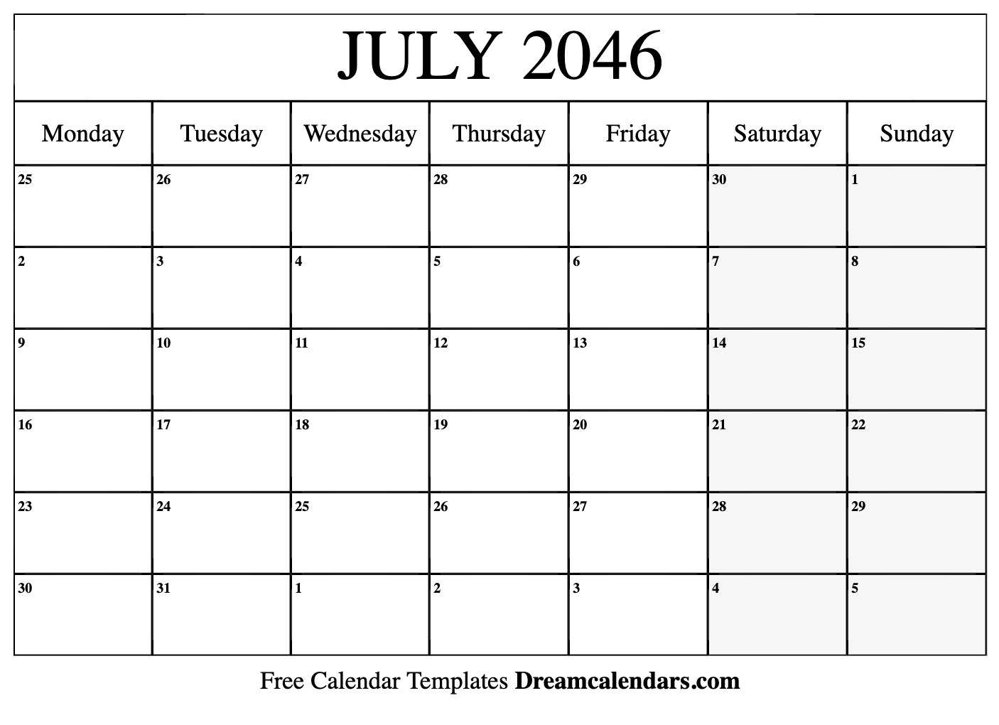 graphic relating to Printable July Calendar named Printable July 2046 Calendar