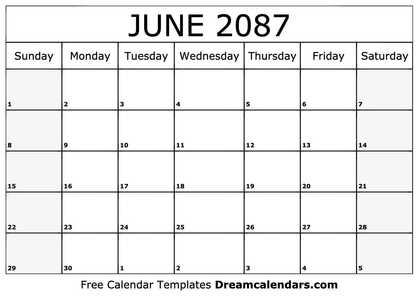 photo relating to Printable June Calendar identify Printable June 2087 Calendar