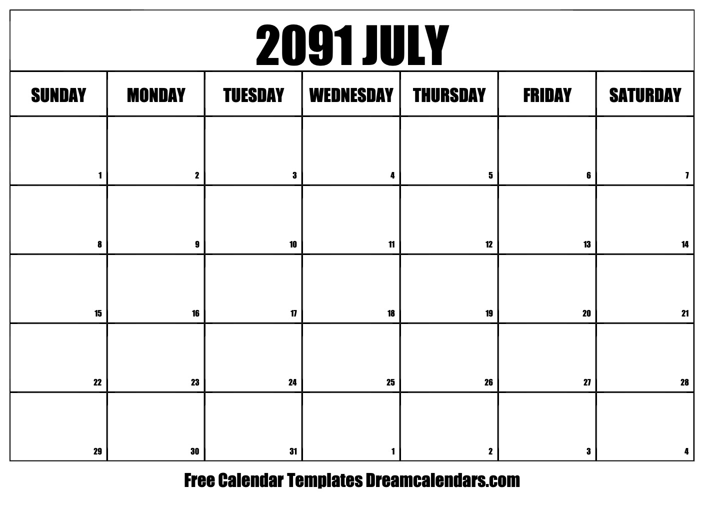 photograph regarding Free Printable July Calendar named Printable July 2091 Calendar