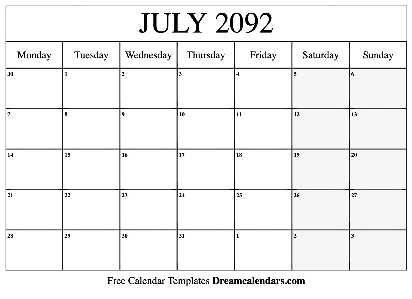 picture about Calendar for July Printable known as Printable July 2092 Calendar