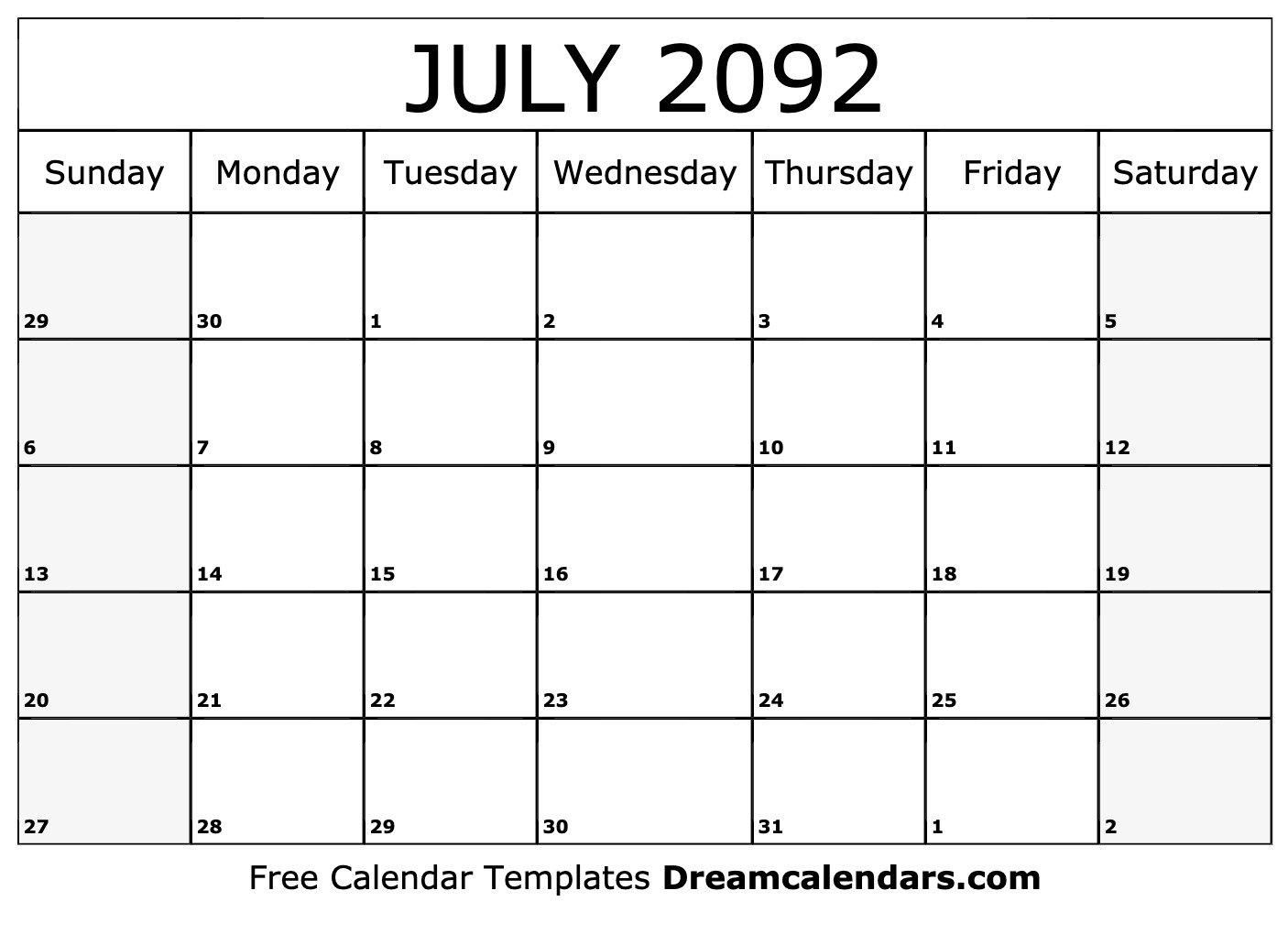 graphic relating to July Calendar Printable titled Printable July 2092 Calendar