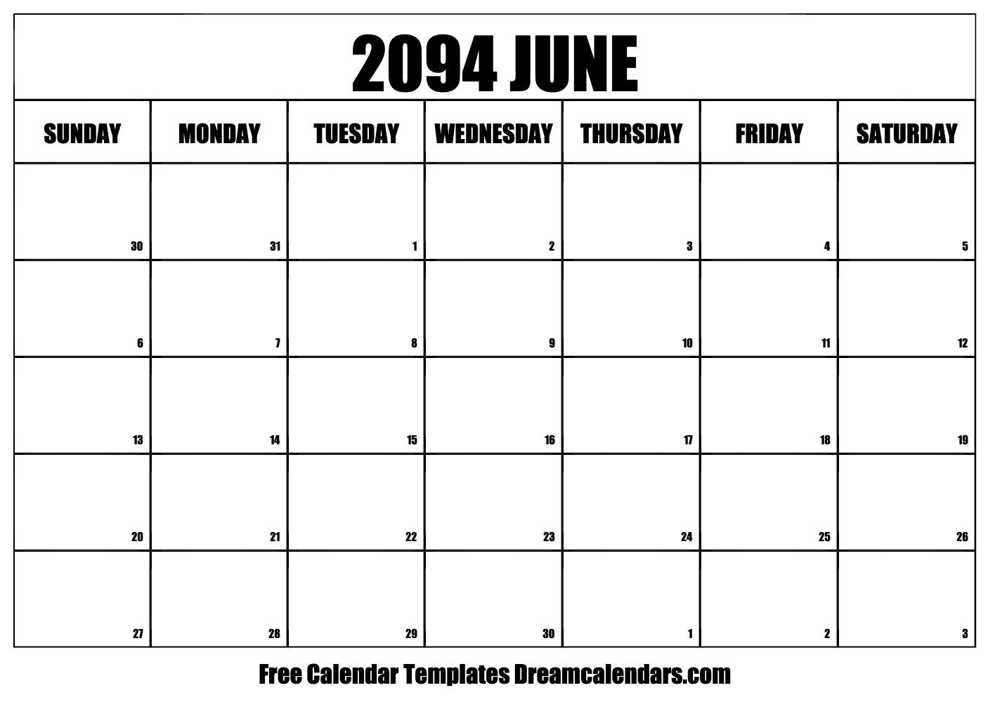 photograph about Free Printable June Calendar identify Printable June 2094 Calendar