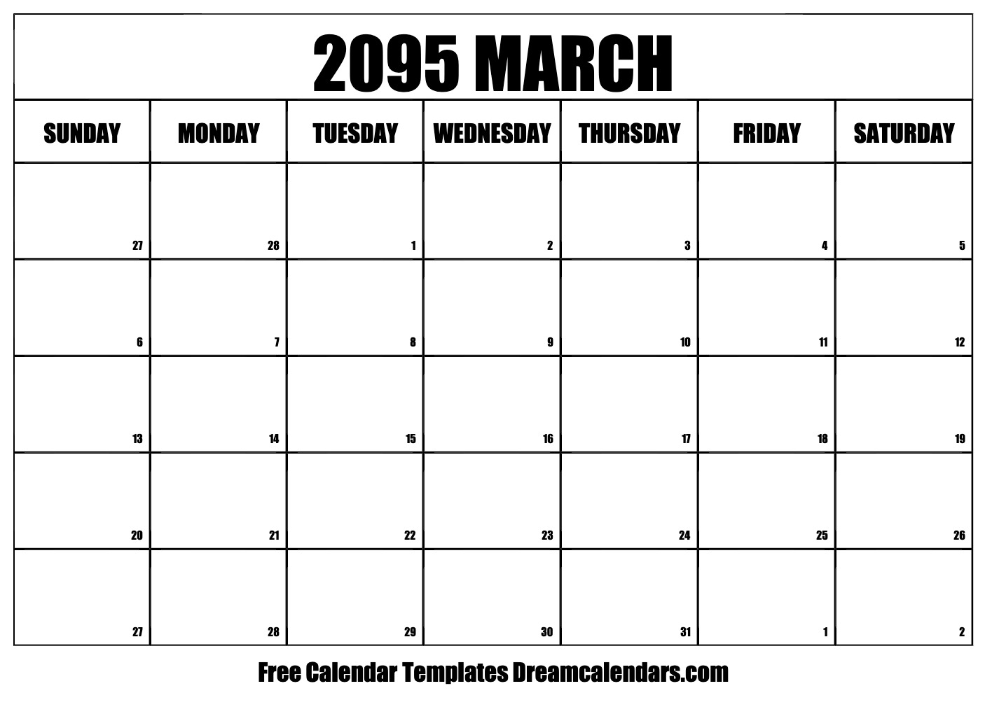 graphic regarding Free Printable March Calendar identify Printable March 2095 Calendar