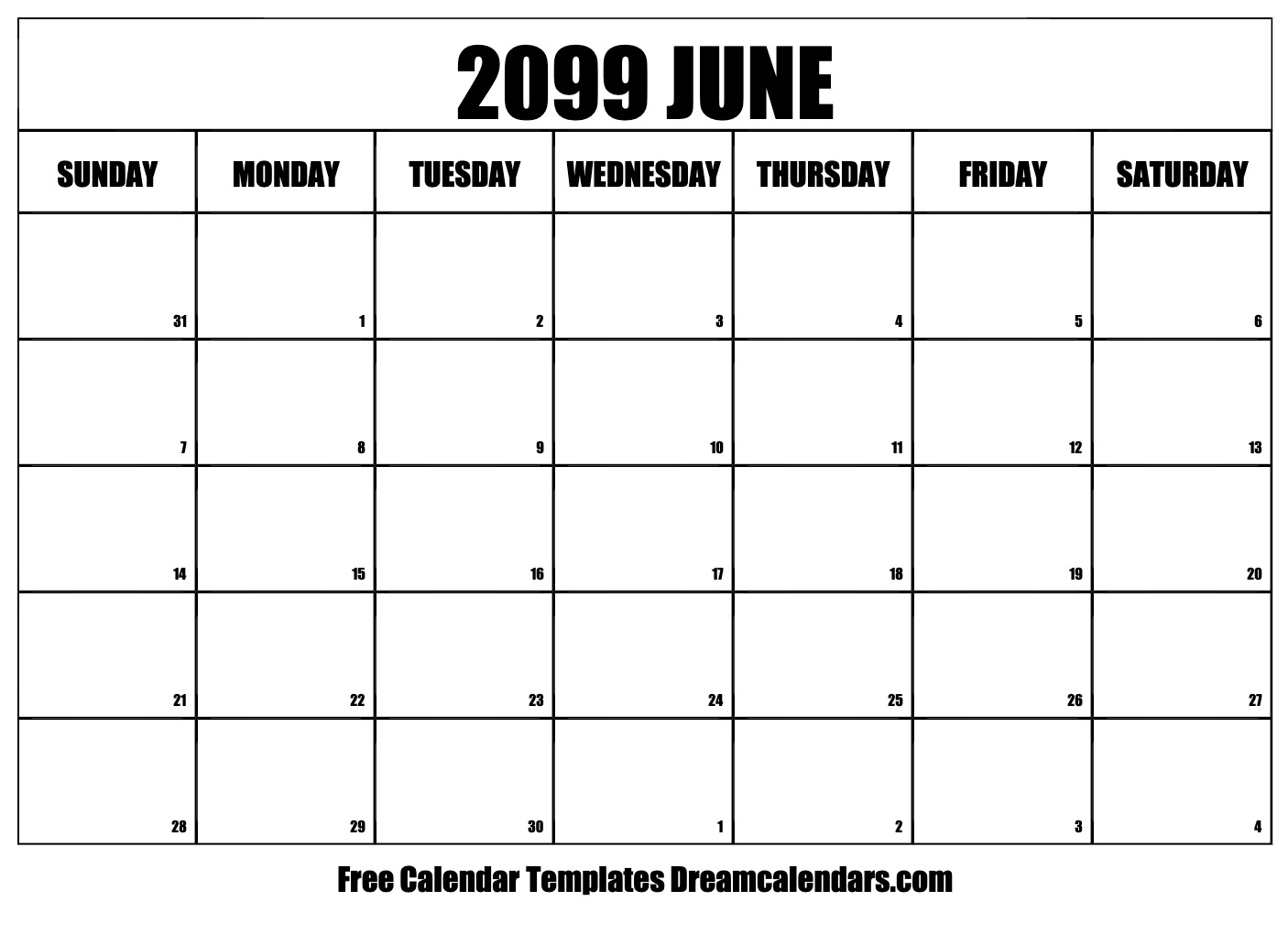 graphic relating to Printable June Calendar named Printable June 2099 Calendar