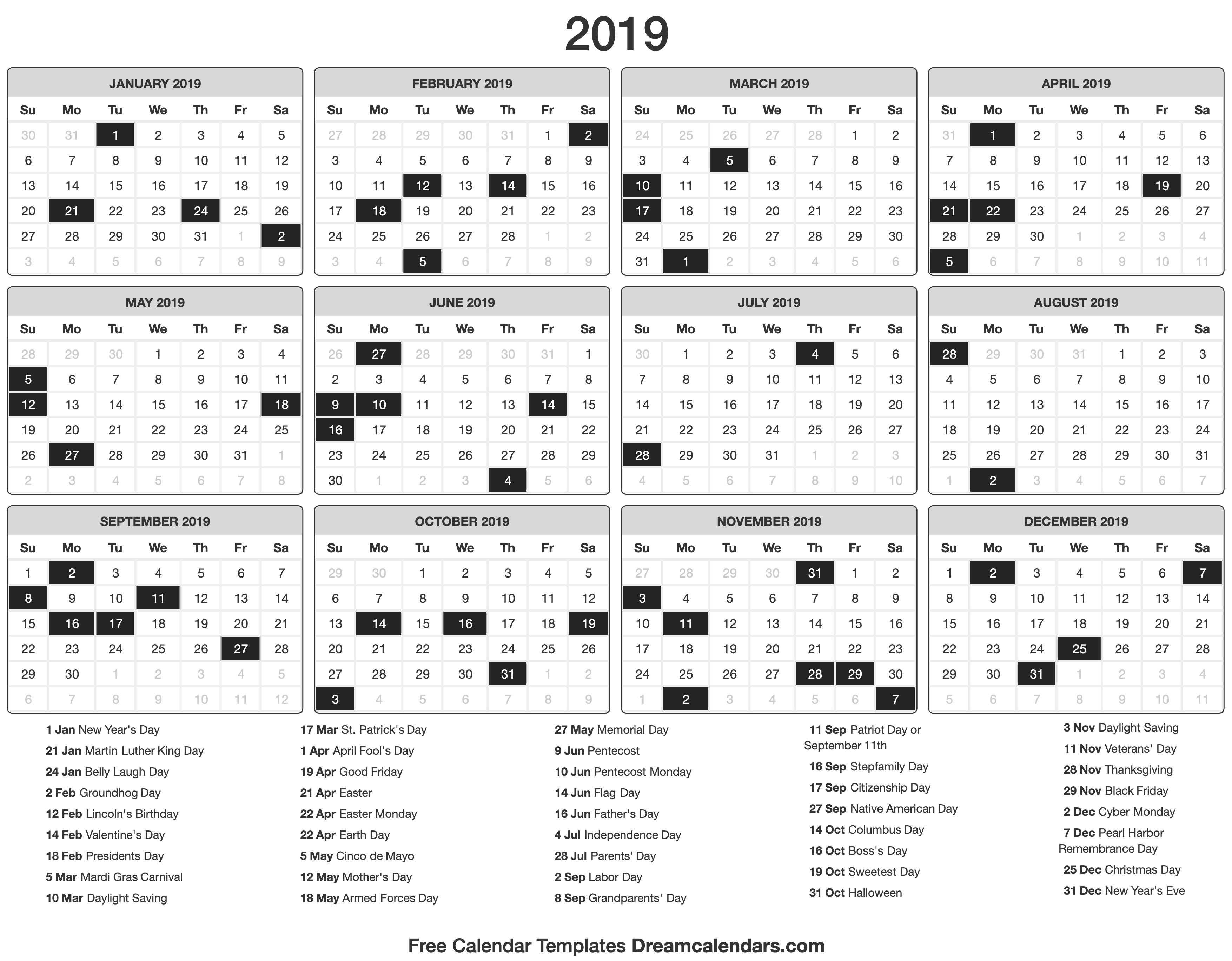 Printable 2019 Calendar - Dream Calendars