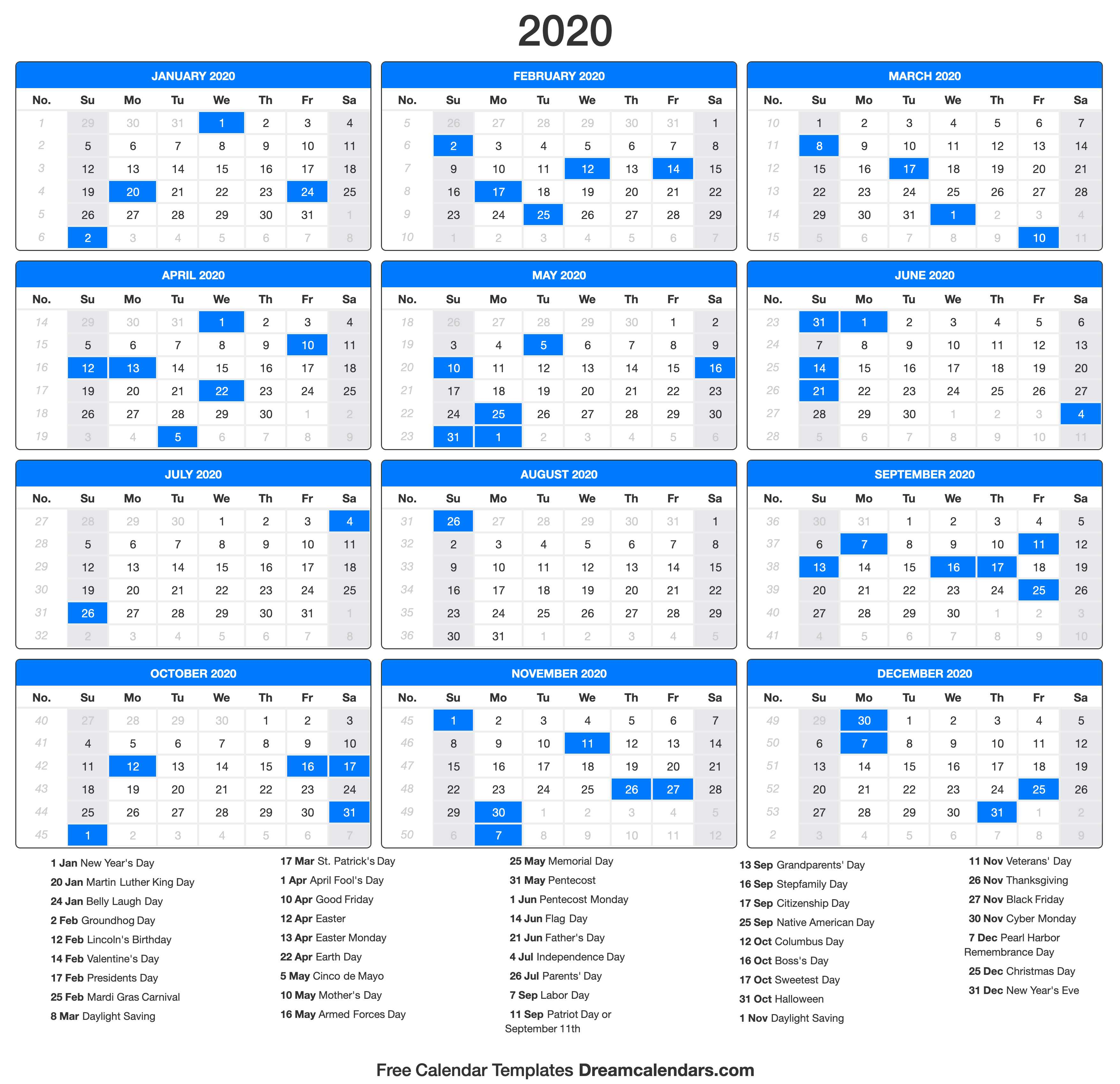 graphic about Calendar With Holidays Printable called 2020 Calendar