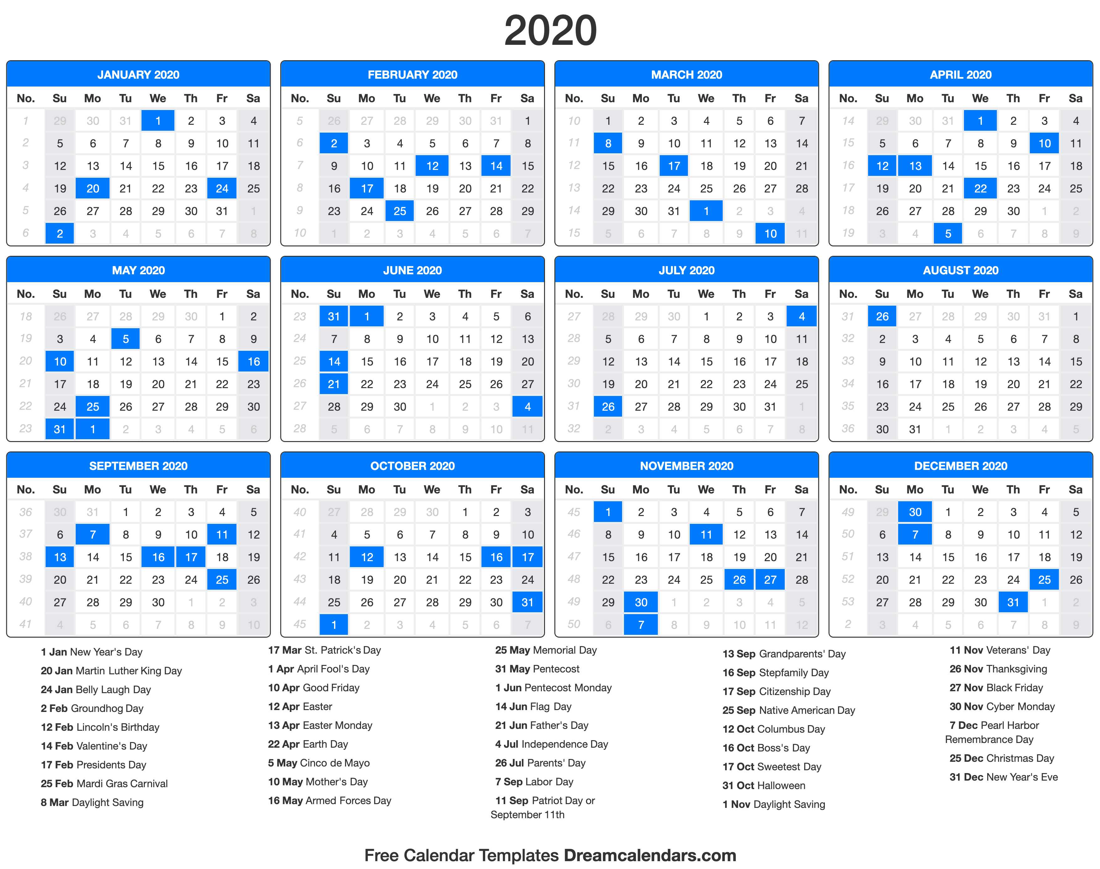 photograph relating to Calendar With Holidays Printable identified as 2020 Calendar