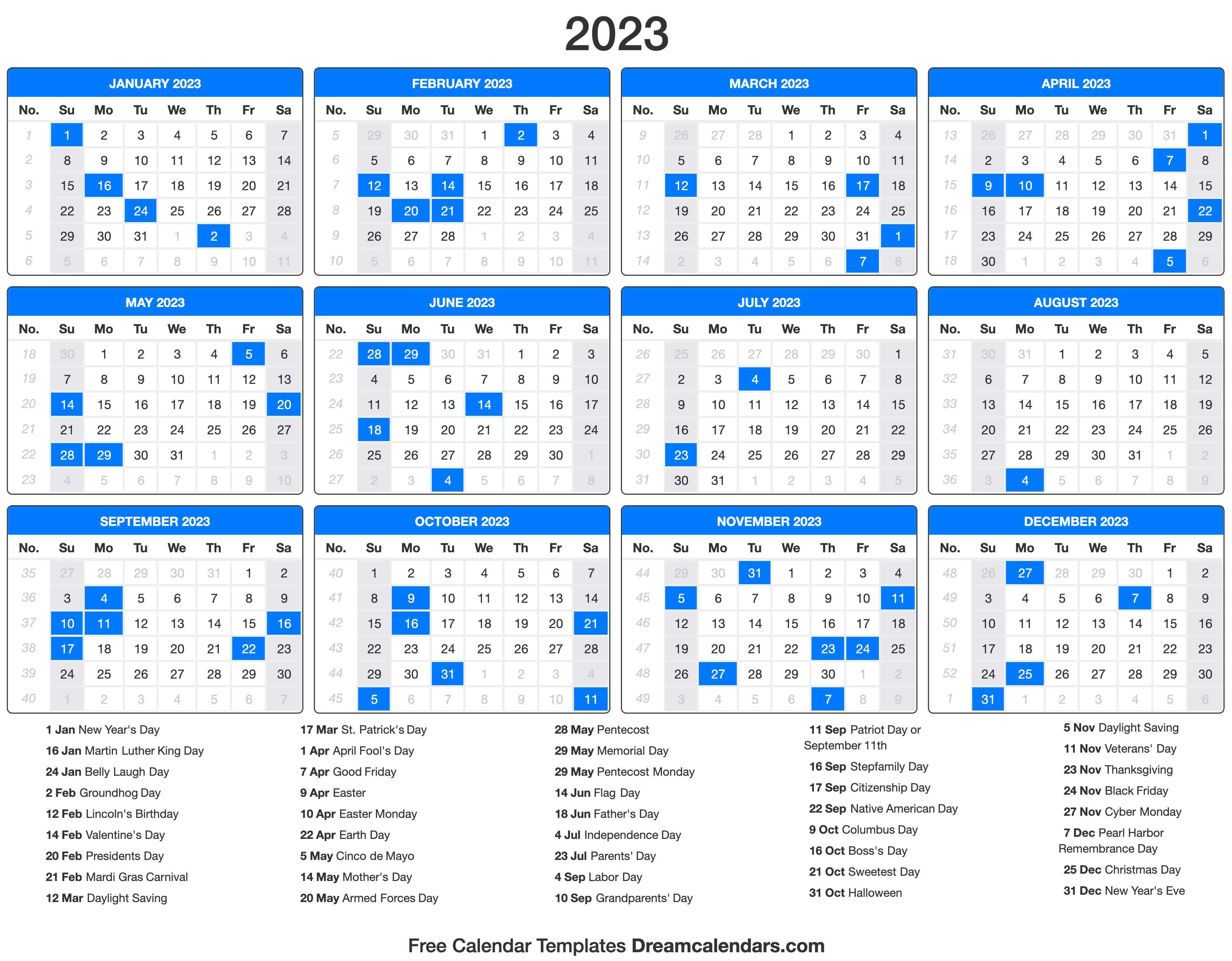 2022 And 2023 Calendar With Holidays.2023 Calendar