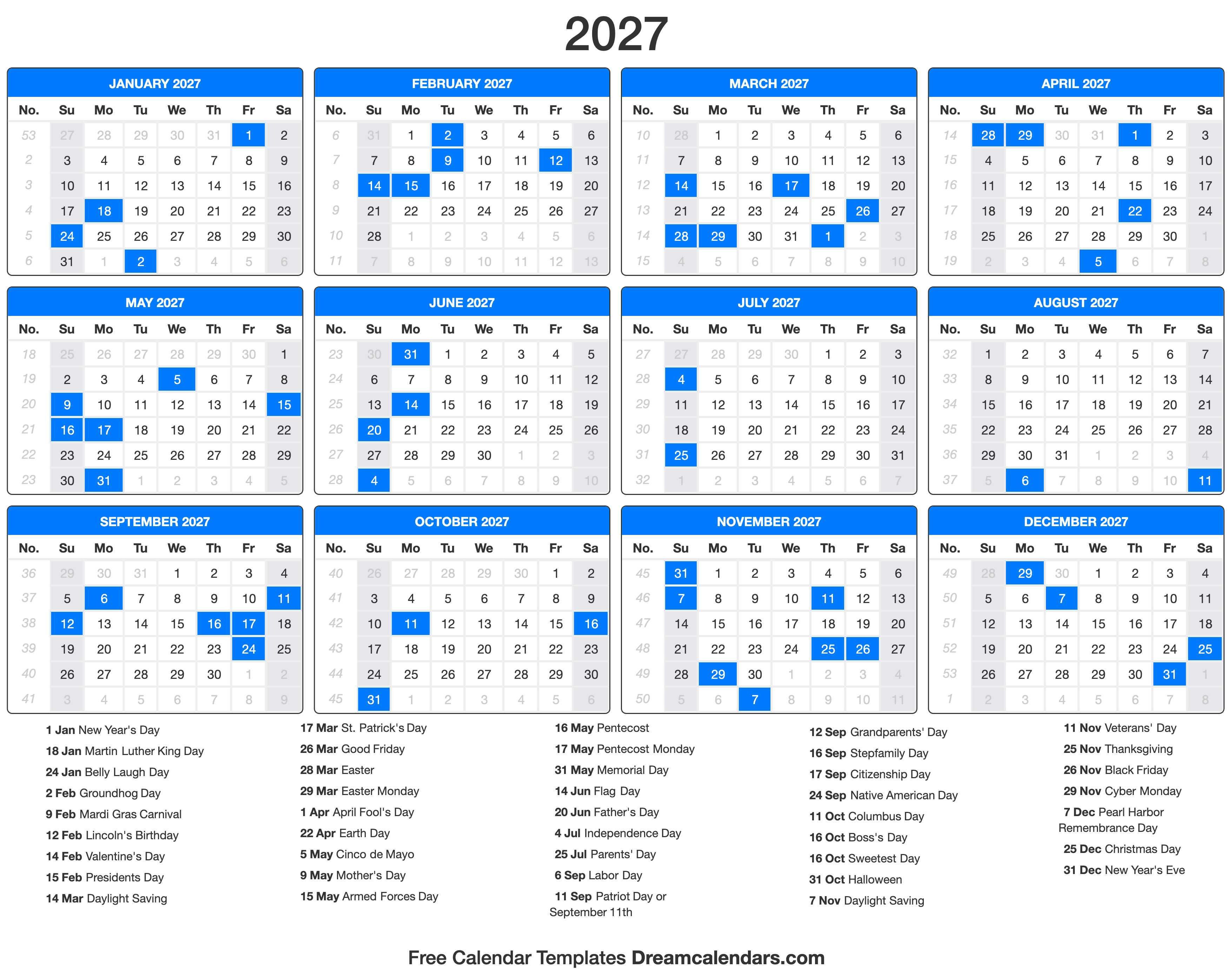 2027 Calendar with holidays