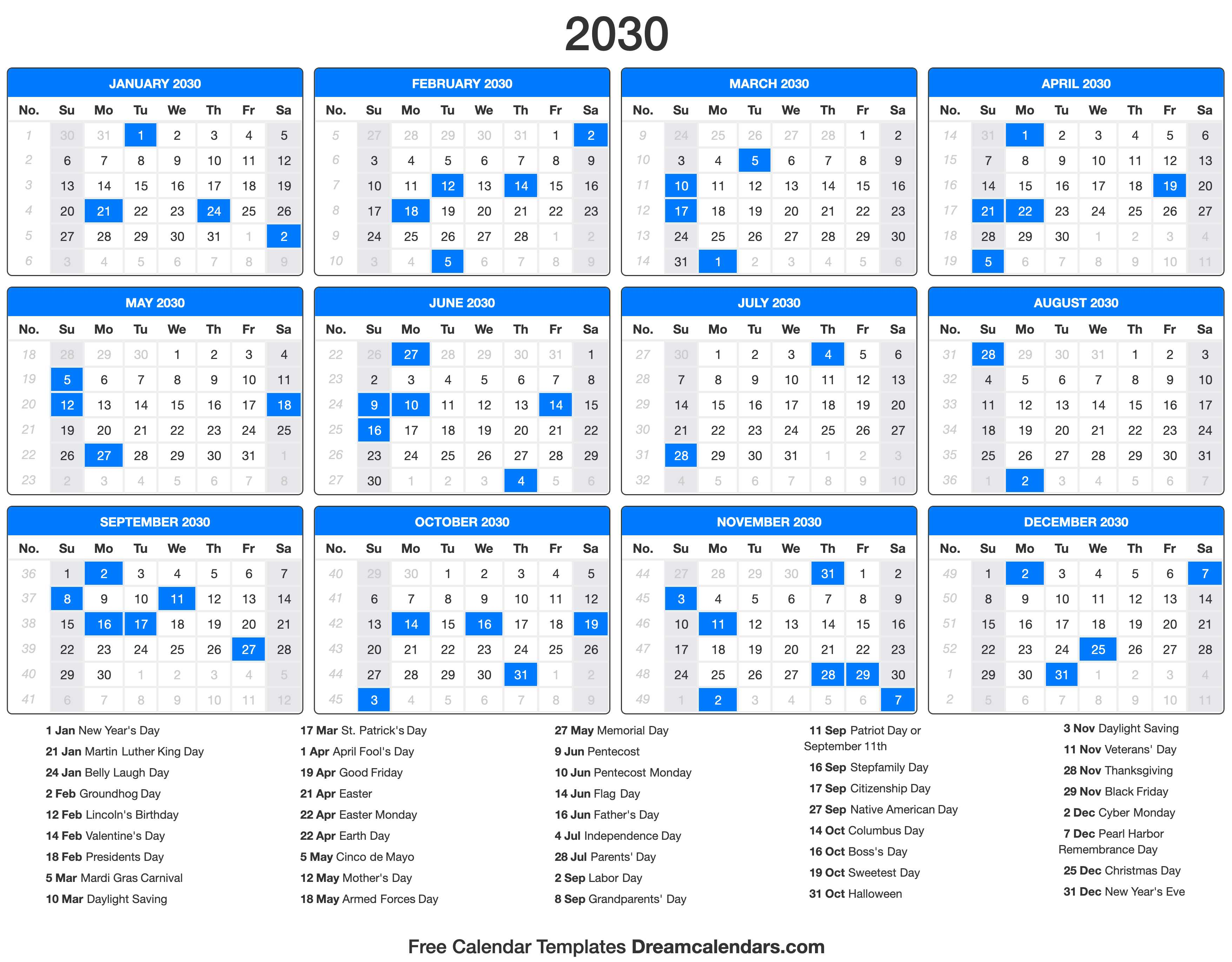 2030 Calendar with holidays